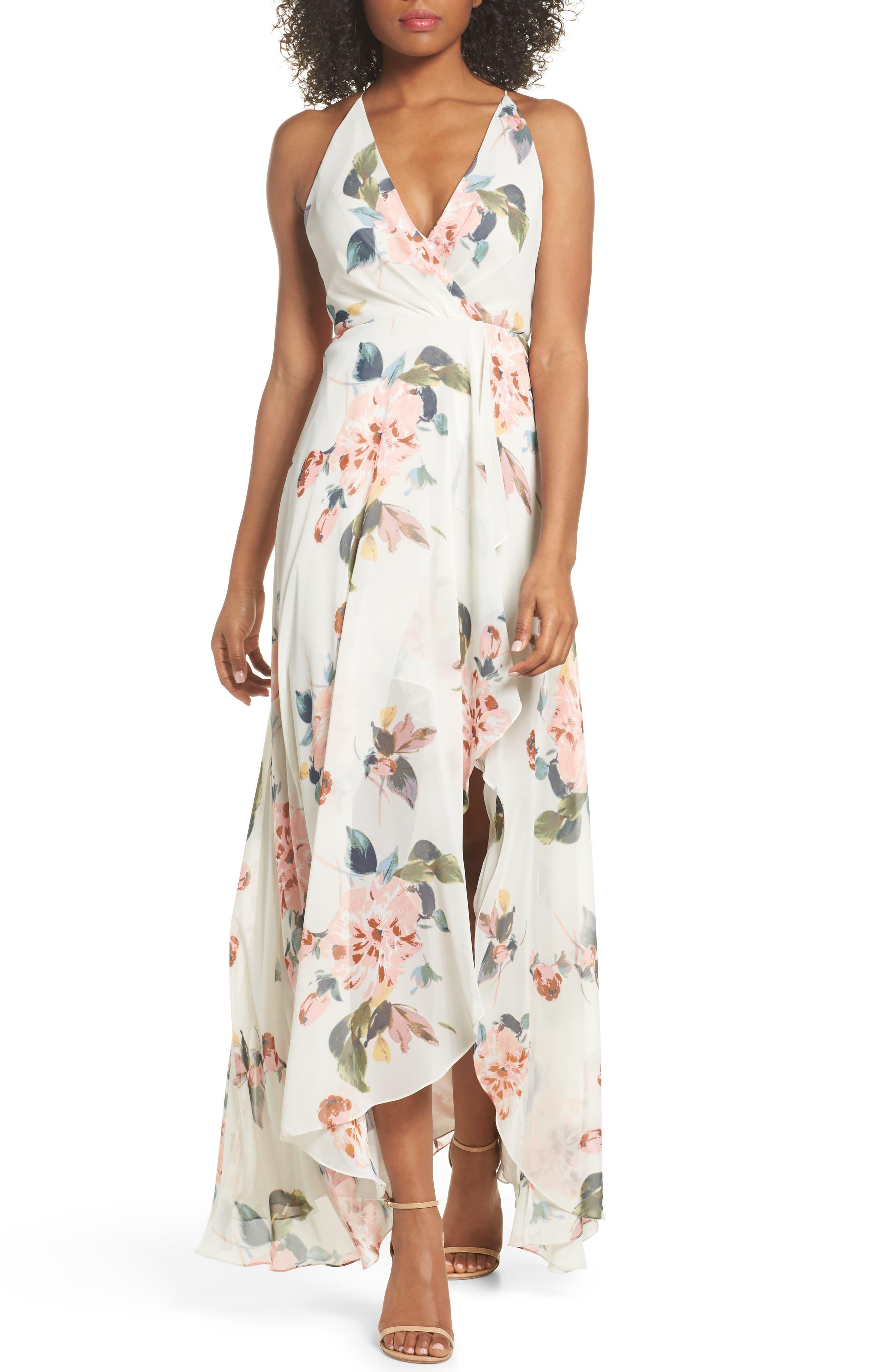 JENNY YOO Farrah Halter Gown, Main, color, SOFT SAGE MULTI