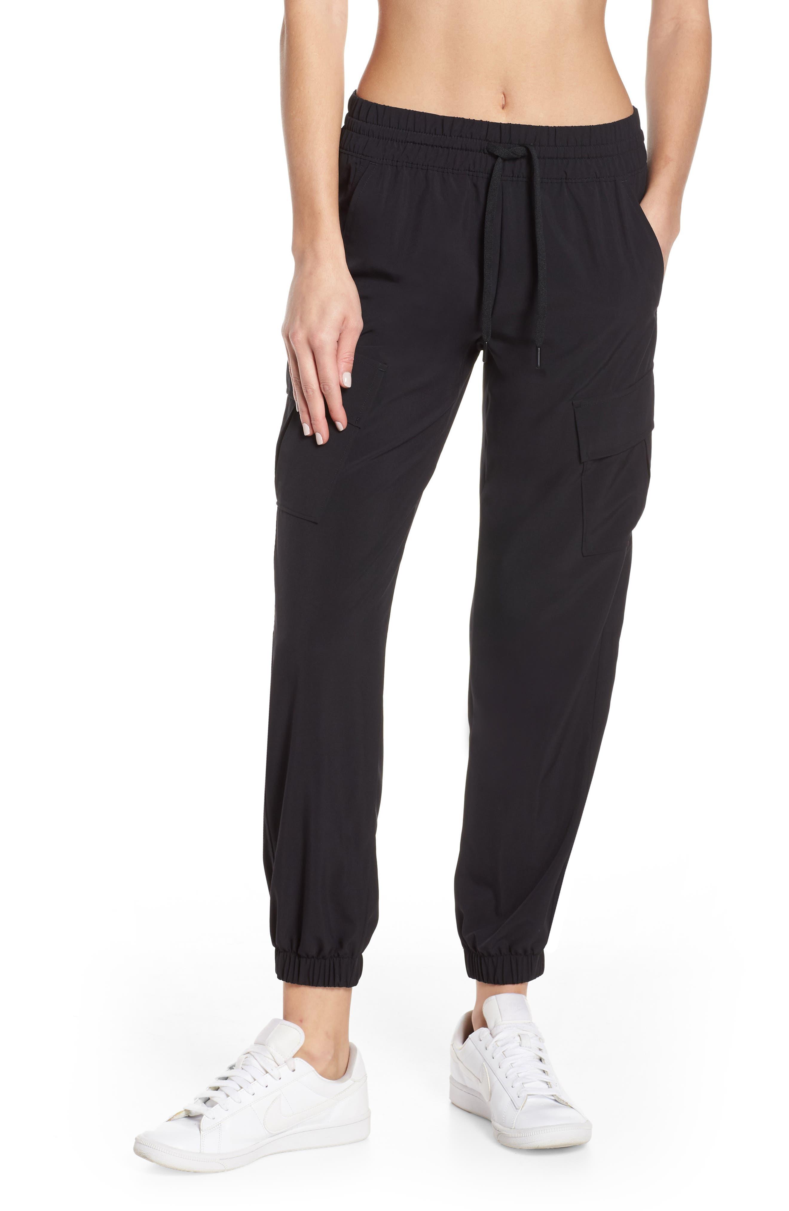 ZELLA Urban Cargo Jogger Pants, Main, color, BLACK