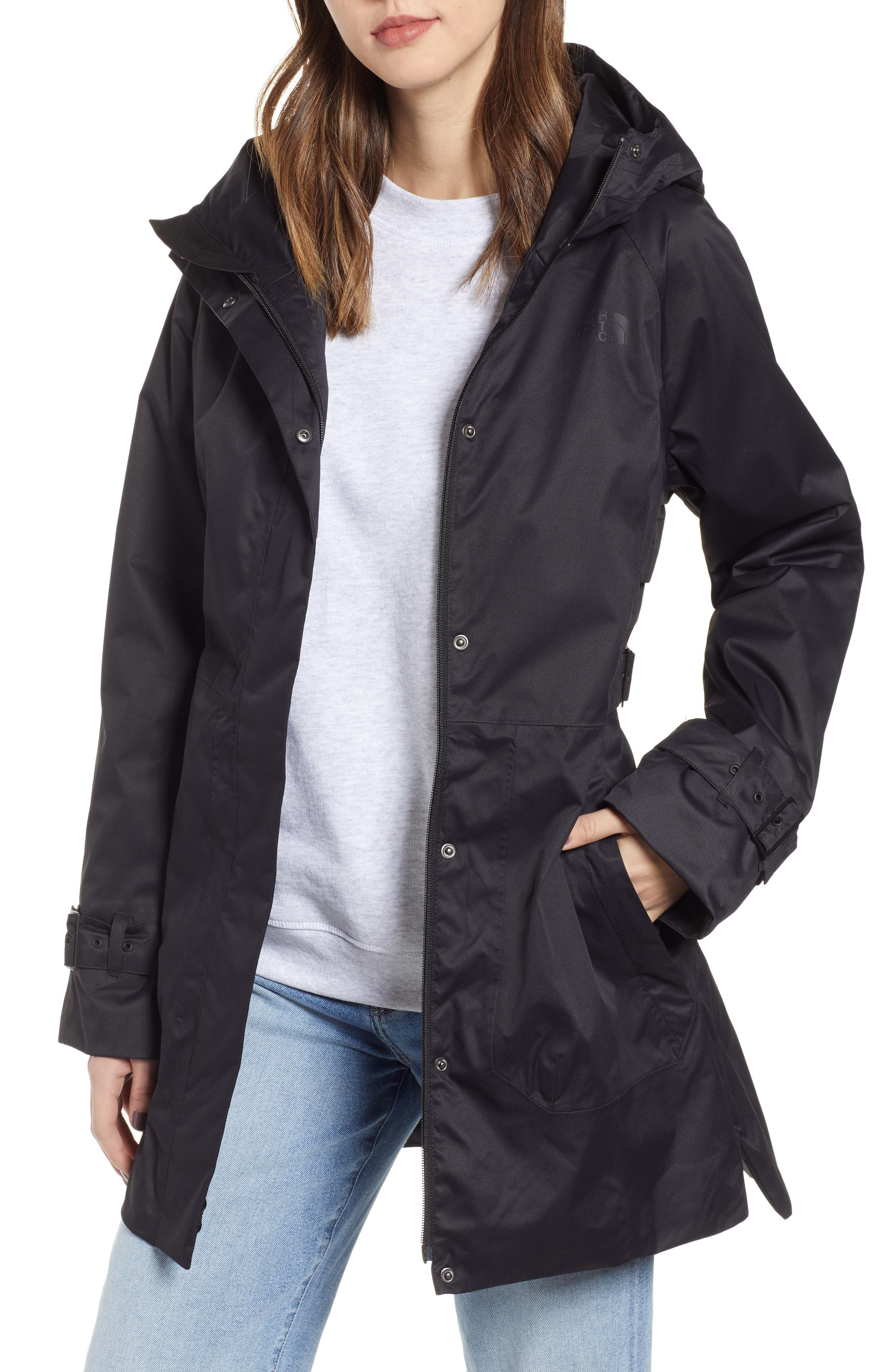 THE NORTH FACE City Breeze Trench Raincoat, Main, color, TNF BLACK
