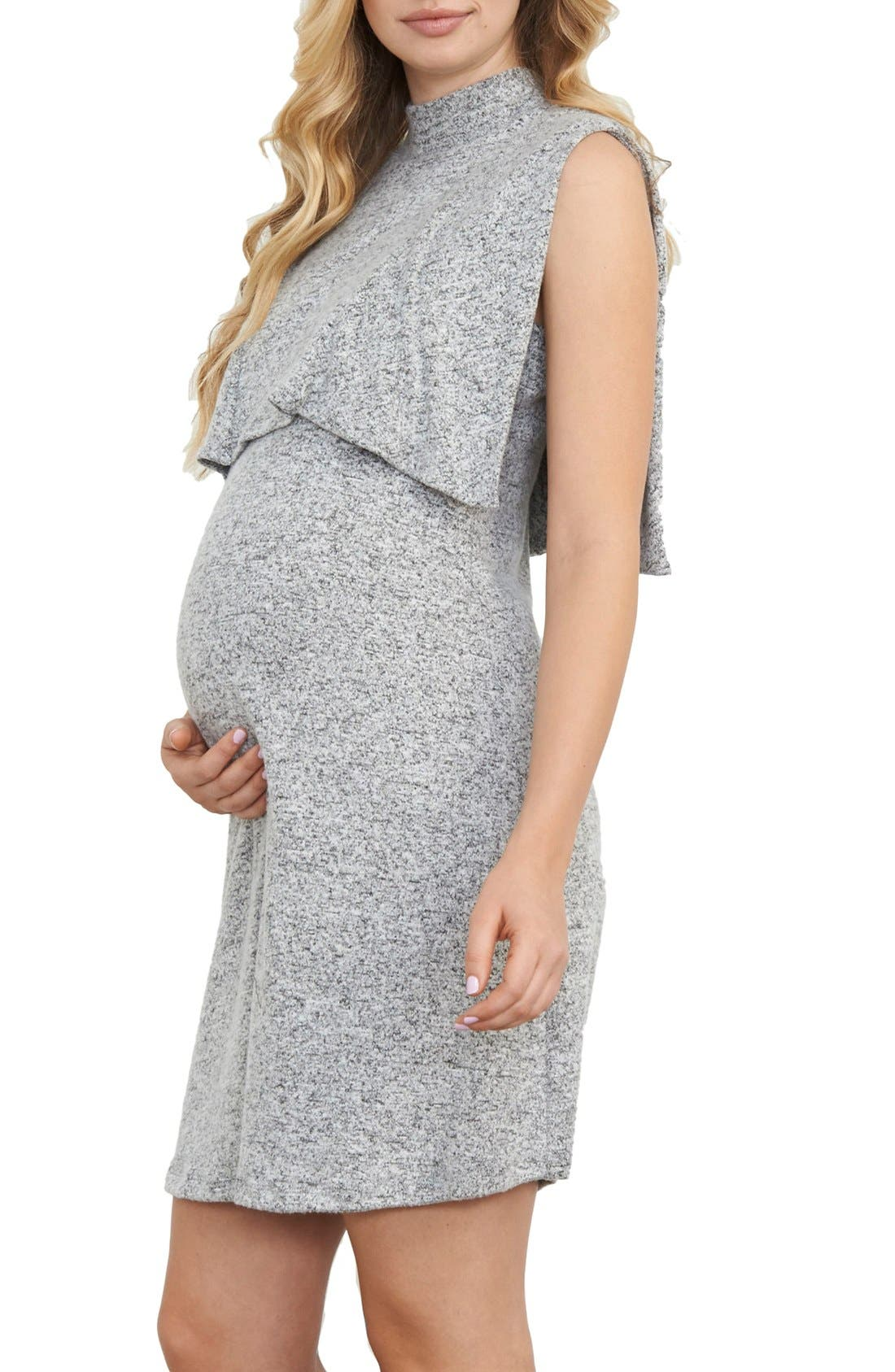 MATERNAL AMERICA Sleeveless Maternity/Nursing Dress, Main, color, GREY