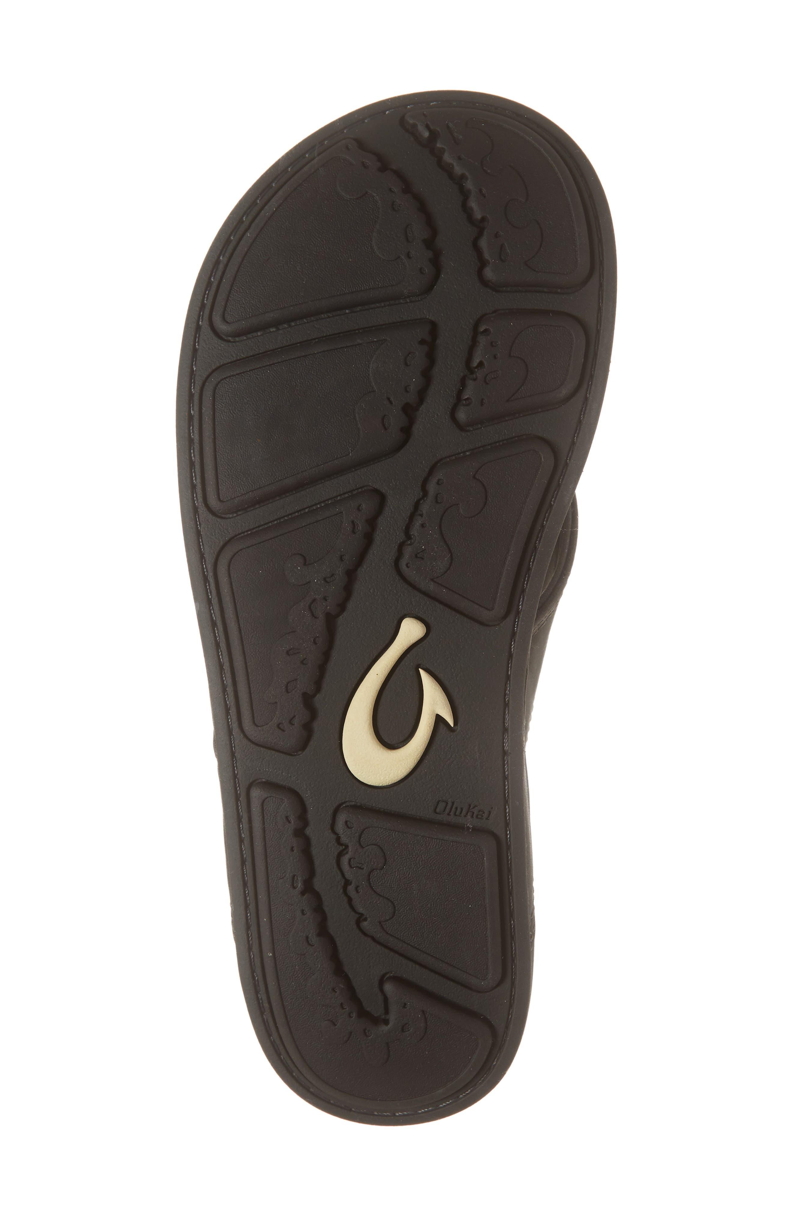 OLUKAI, 'Nui' Leather Flip Flop, Alternate thumbnail 6, color, LAVA ROCK LEATHER