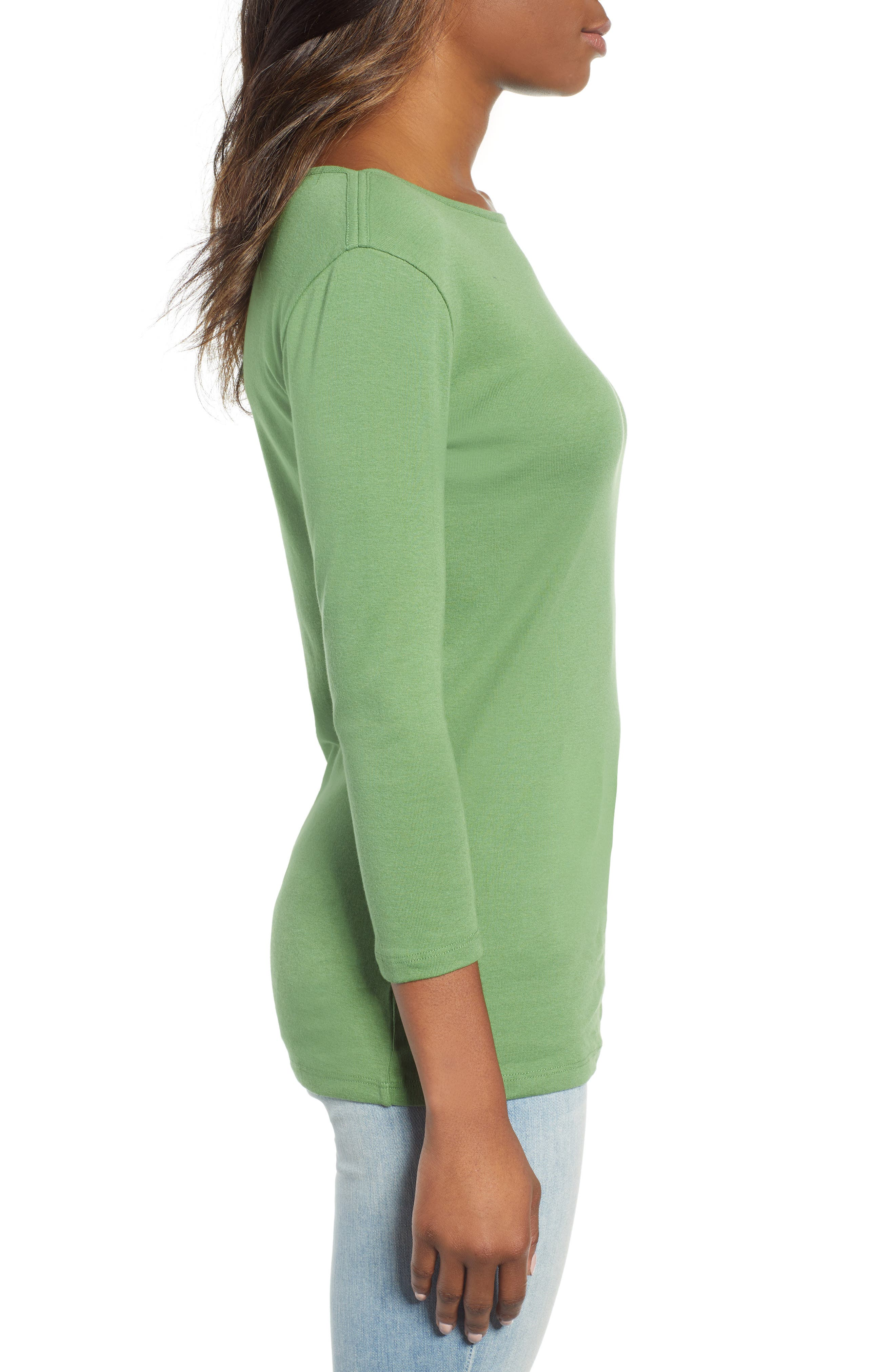 CASLON<SUP>®</SUP>, Three Quarter Sleeve Tee, Alternate thumbnail 4, color, GREEN WILLOW