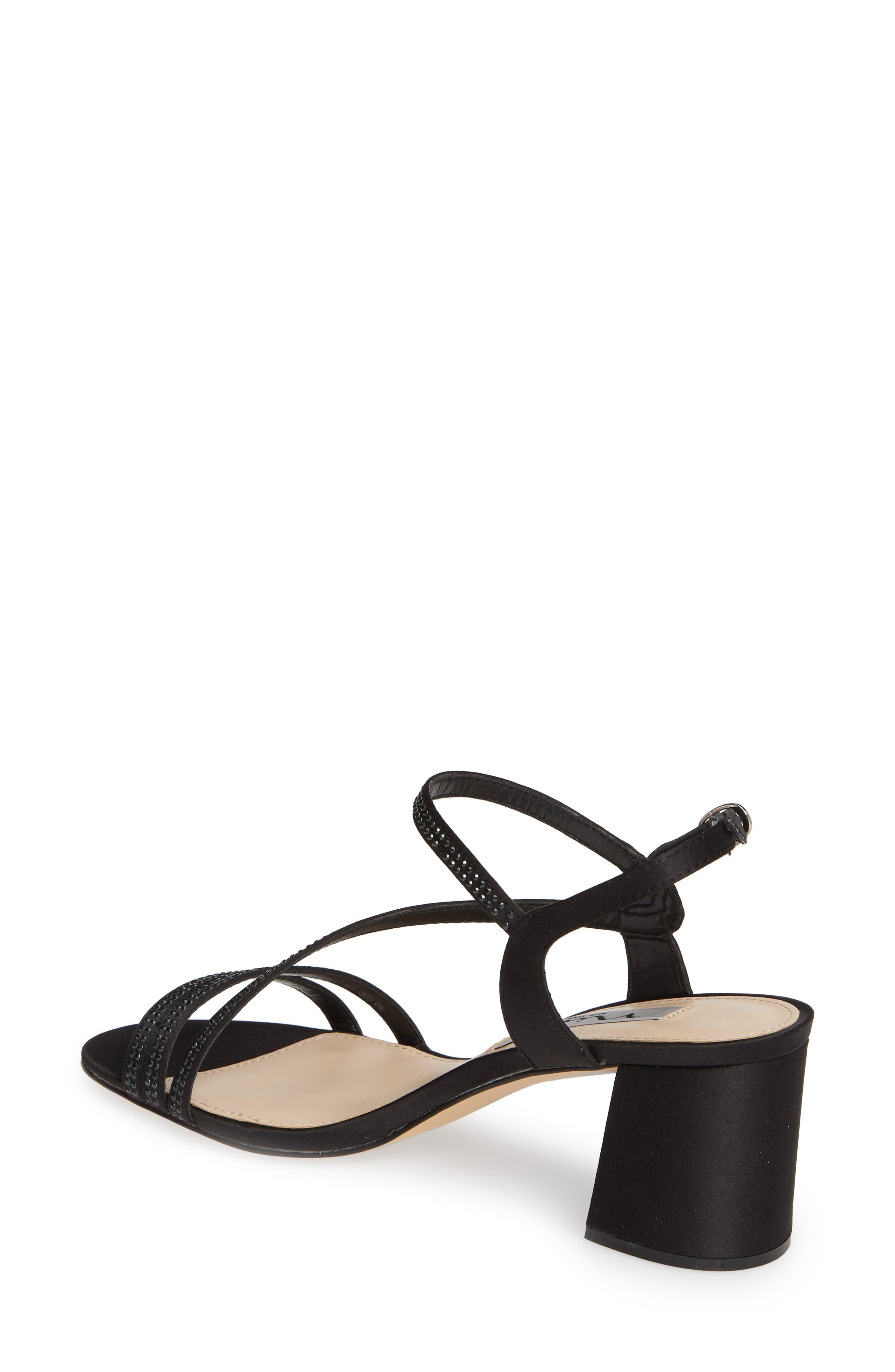 NINA, Naura Block Heel Sandal, Alternate thumbnail 2, color, BLACK SATIN