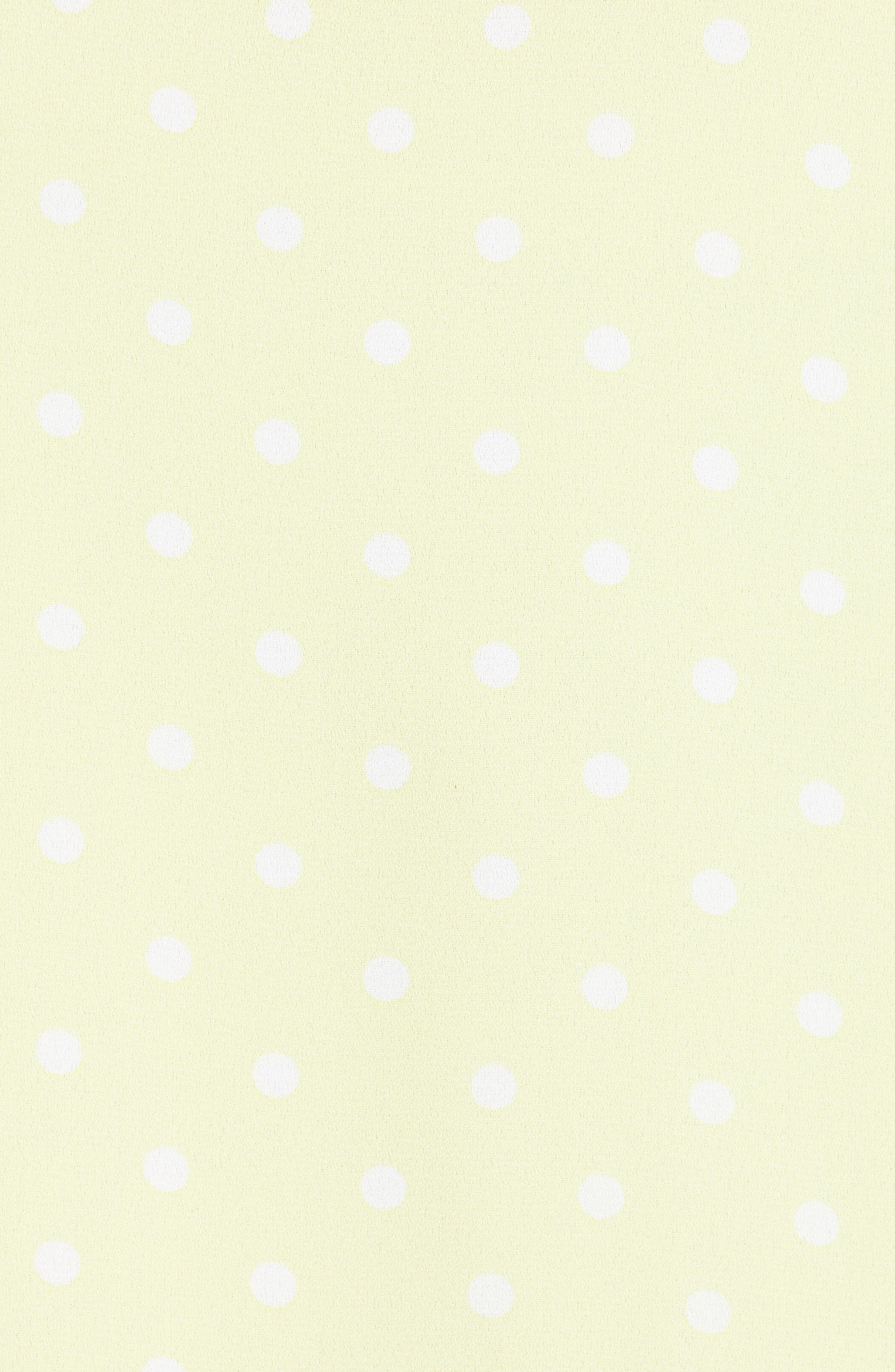 LEITH, Flutter Sleeve Midi Dress, Alternate thumbnail 6, color, YELLOW MERINGUE DOT