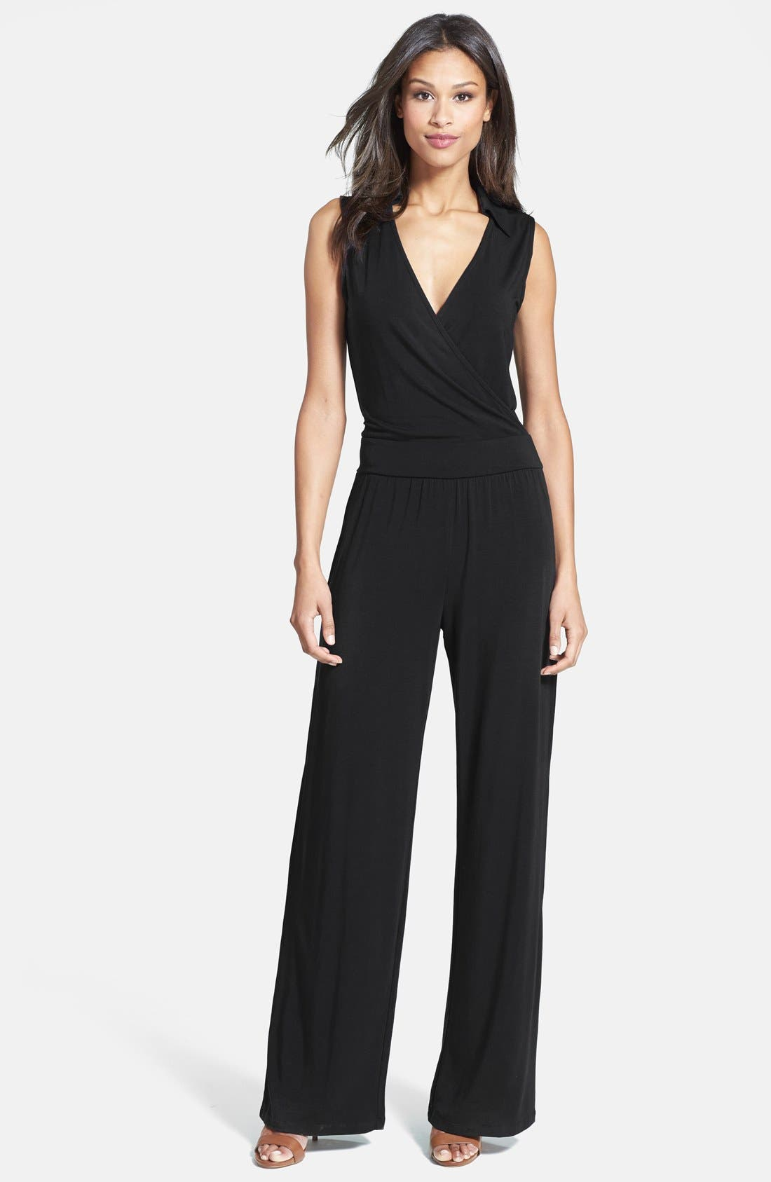 TART, 'Kenna' V-Neck Stretch Jersey Jumpsuit, Main thumbnail 1, color, 001