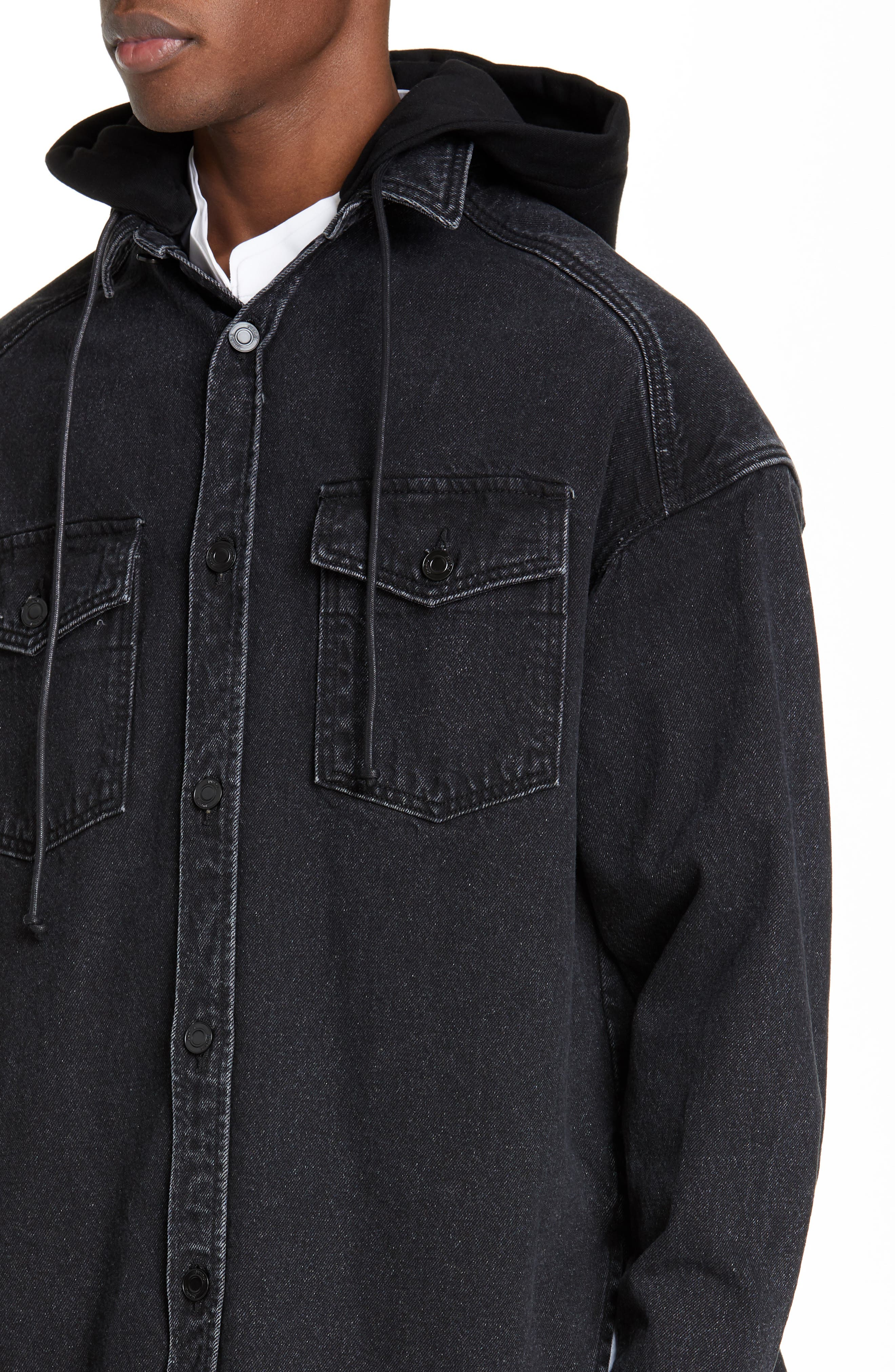 JUUN.J, Denim Shirt with Detachable Hood, Alternate thumbnail 2, color, BLACK