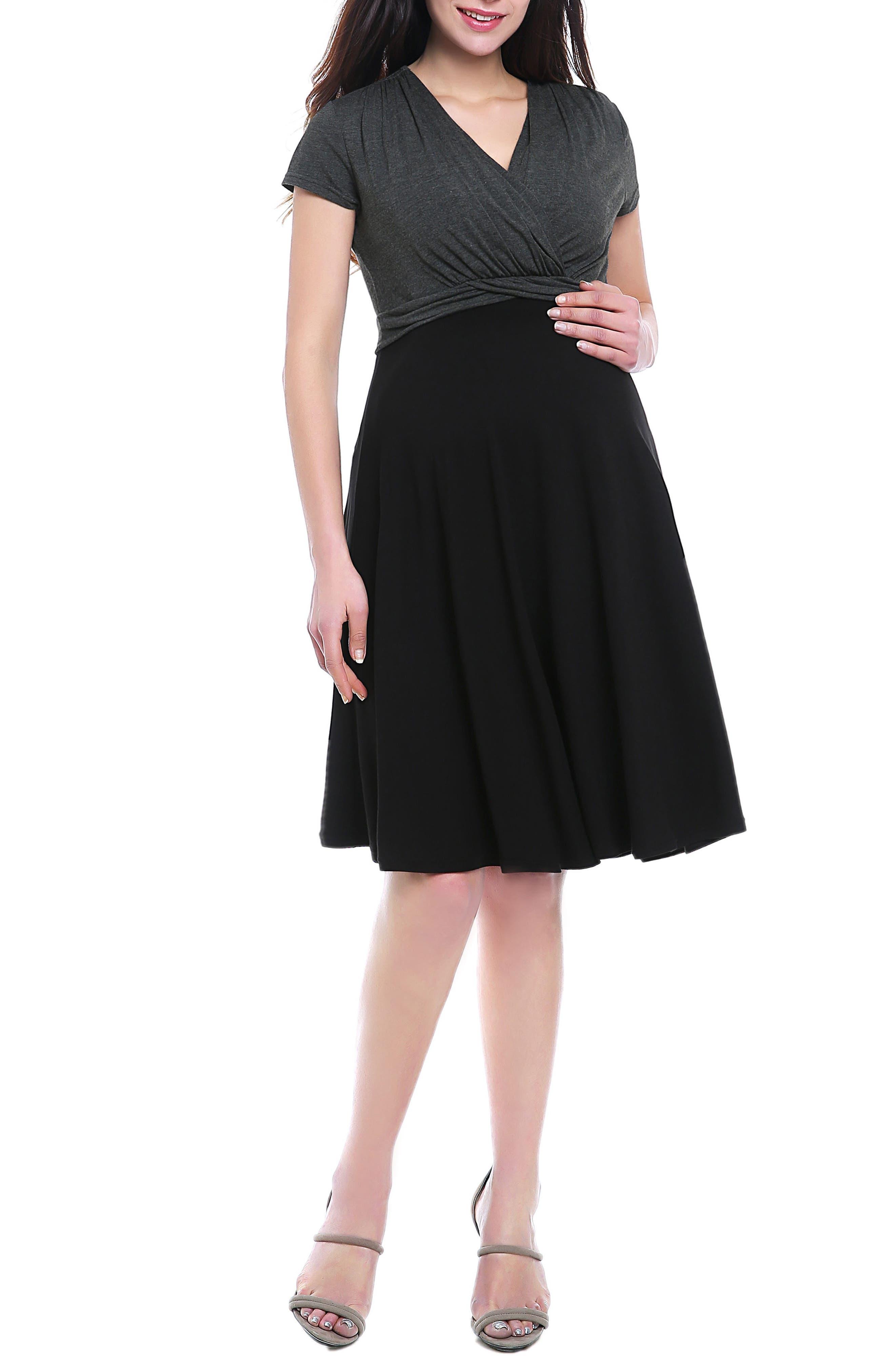 Kimi & Kai Sarah Faux Wrap Maternity/nursing Dress, Black