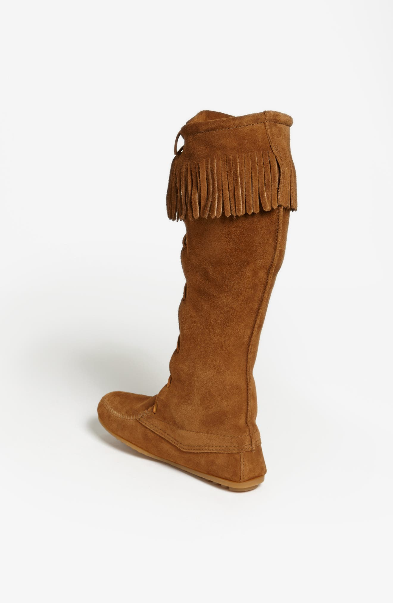 MINNETONKA, Lace-Up Boot, Alternate thumbnail 4, color, DUSTY BROWN