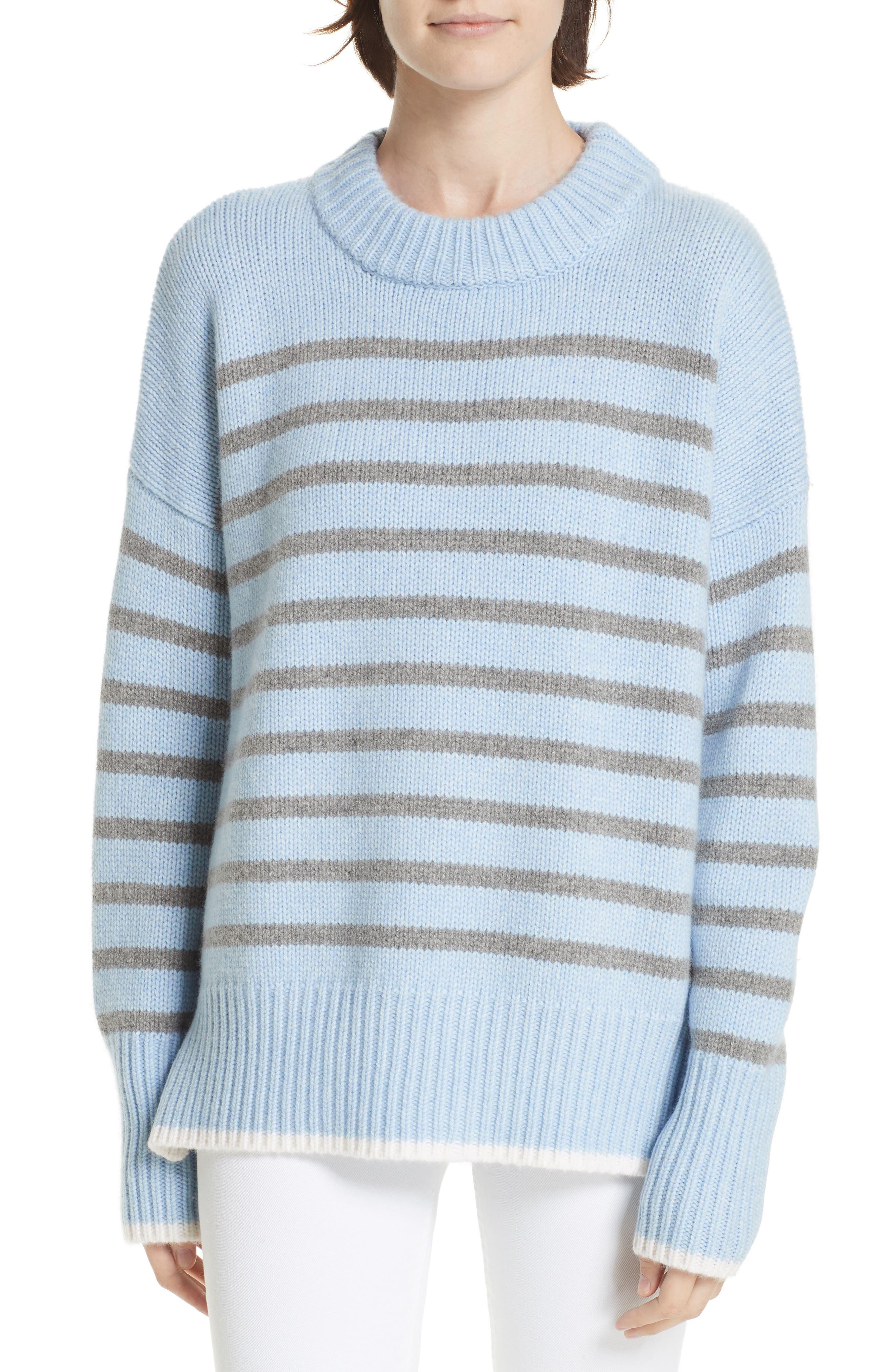 La Ligne Marin Stripe Cashmere & Wool Sweater, Blue
