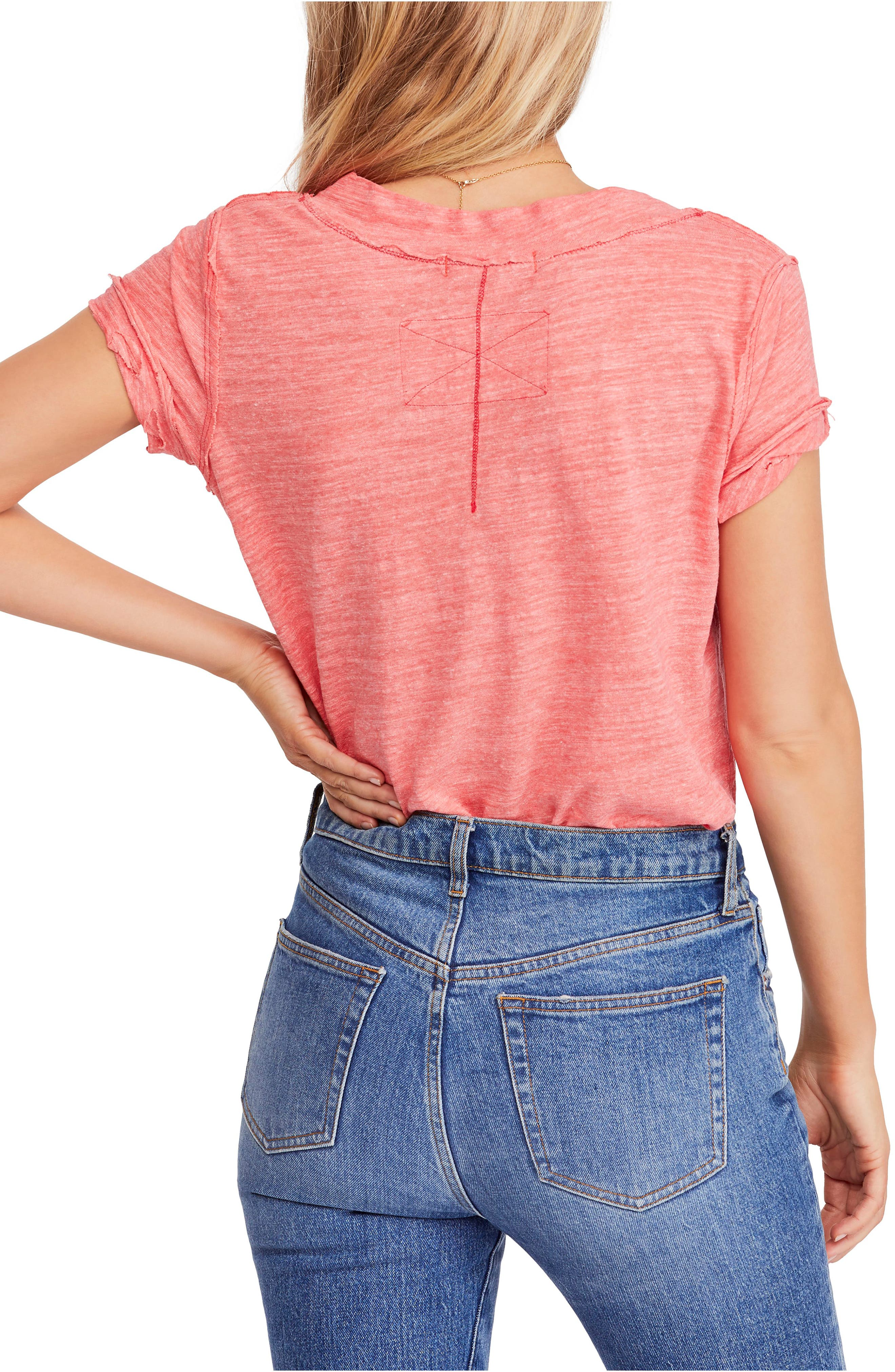 FREE PEOPLE, V-Neck Tee, Alternate thumbnail 2, color, RED