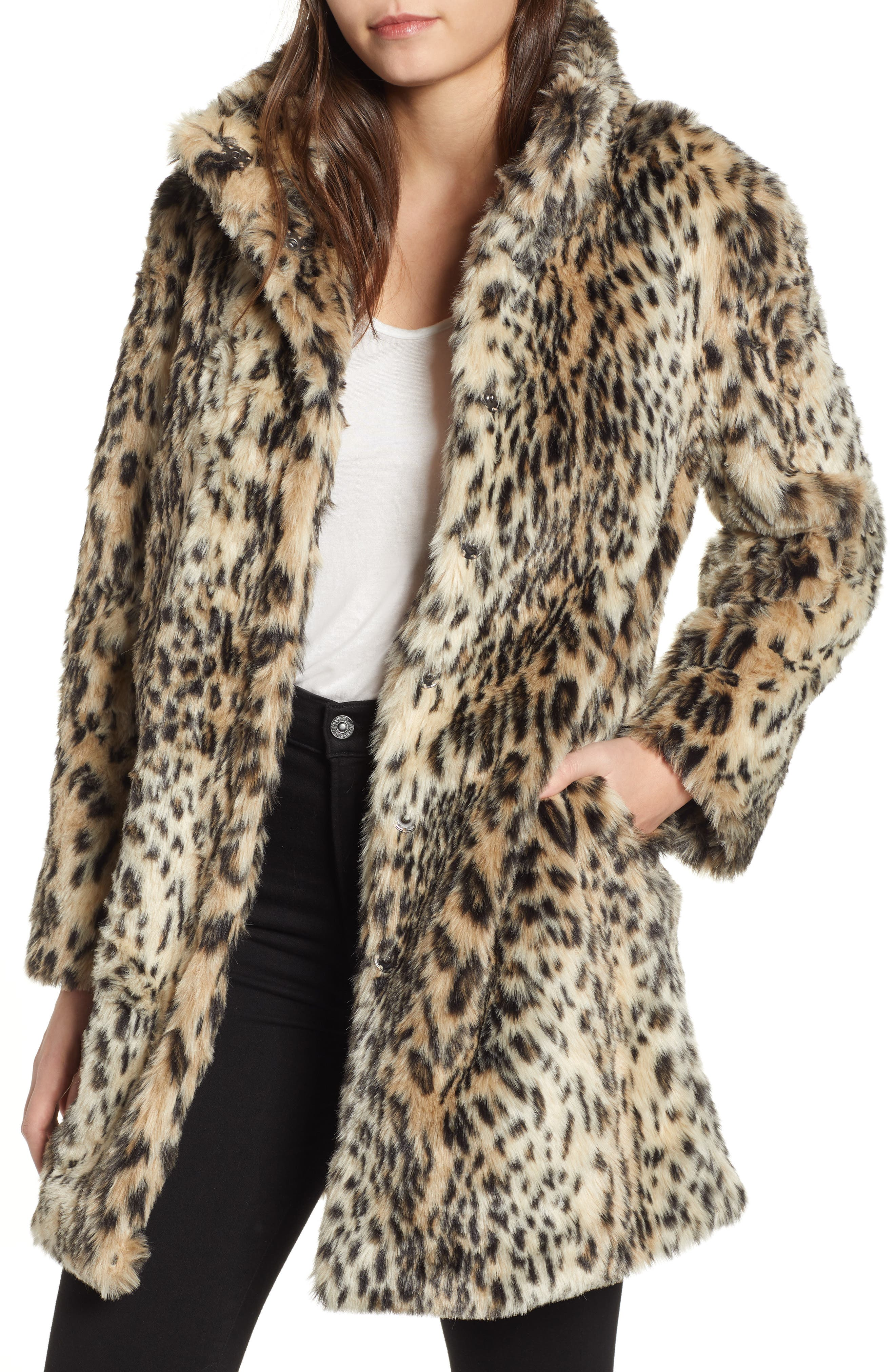 CUPCAKES AND CASHMERE, Leopard Faux Fur Coat, Main thumbnail 1, color, 009