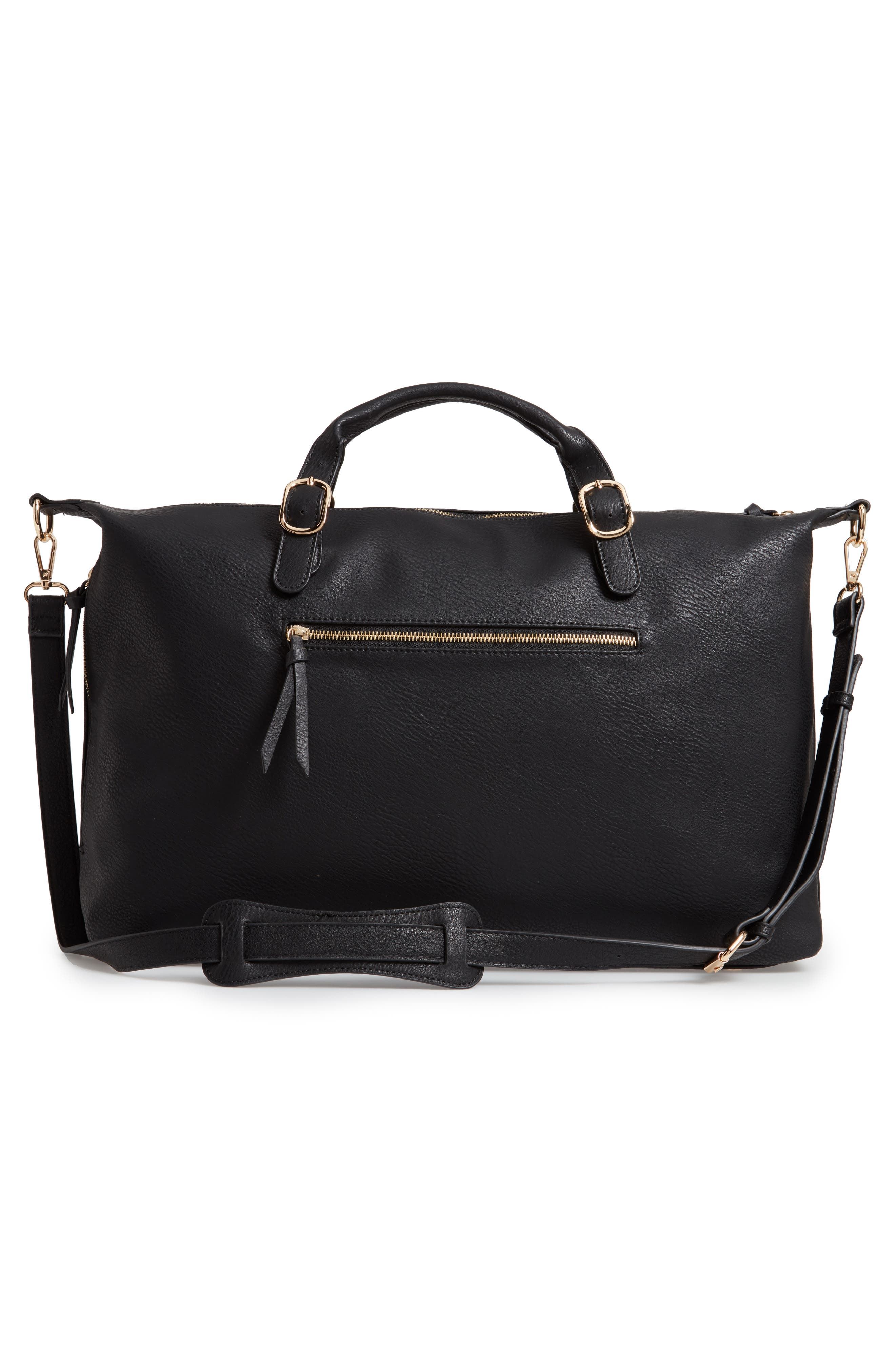 SOLE SOCIETY, Grant Faux Leather Weekend Bag, Alternate thumbnail 4, color, BLACK