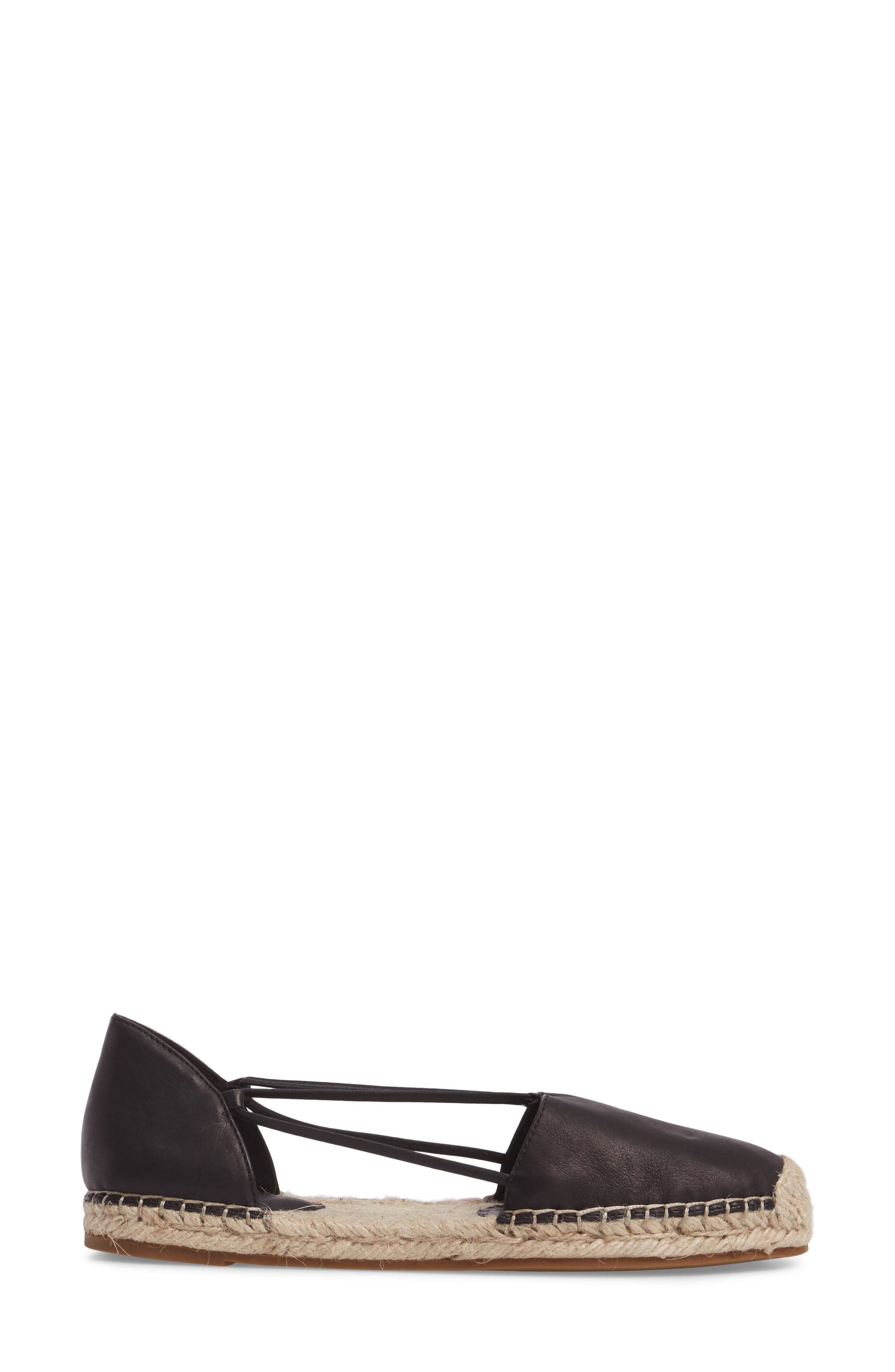 EILEEN FISHER, Lee Espadrille Flat, Alternate thumbnail 3, color, BLACK WASHED LEATHER