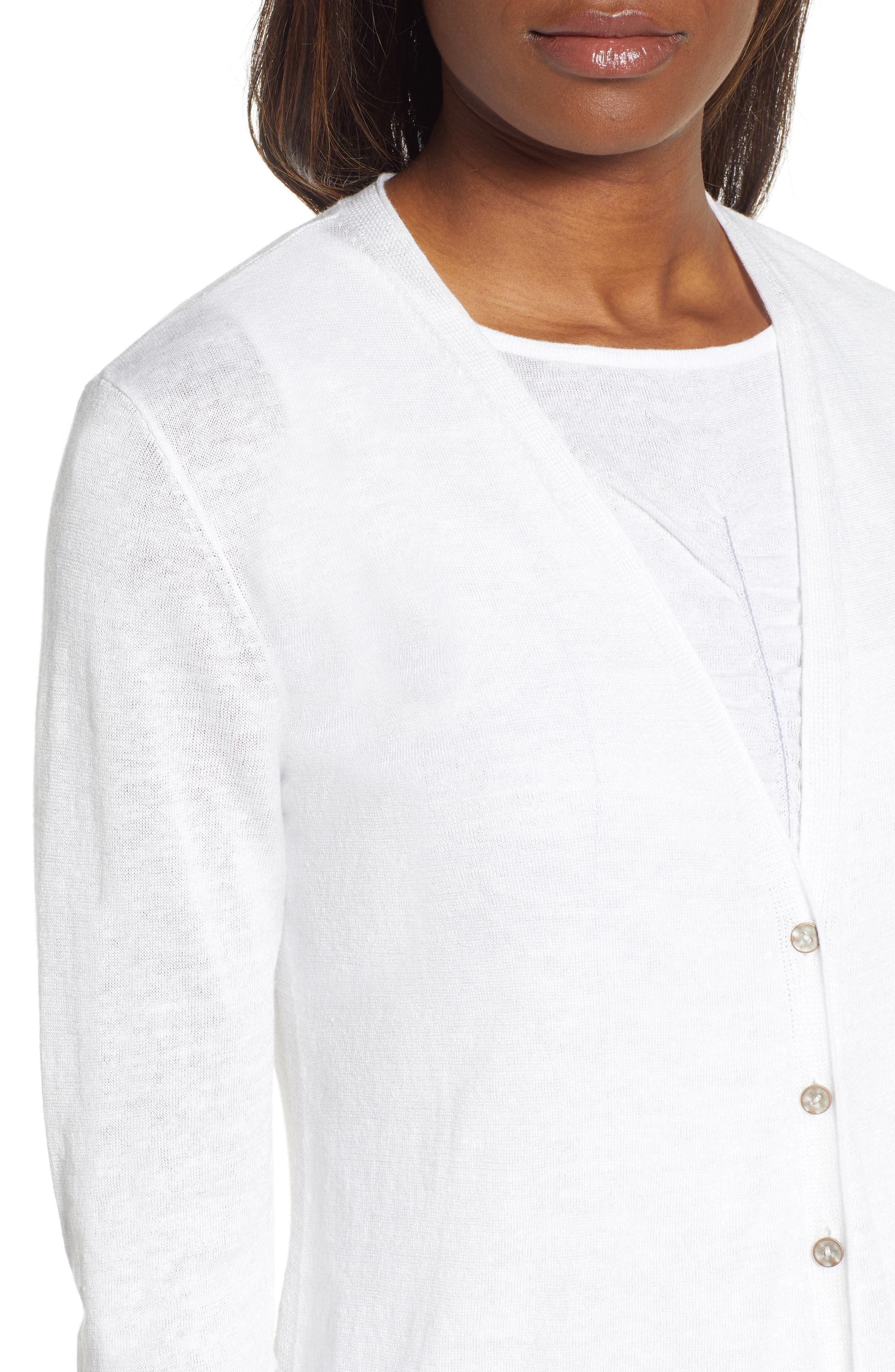 NIC+ZOE, Ruched Sleeve Cardigan, Alternate thumbnail 4, color, PAPER WHITE