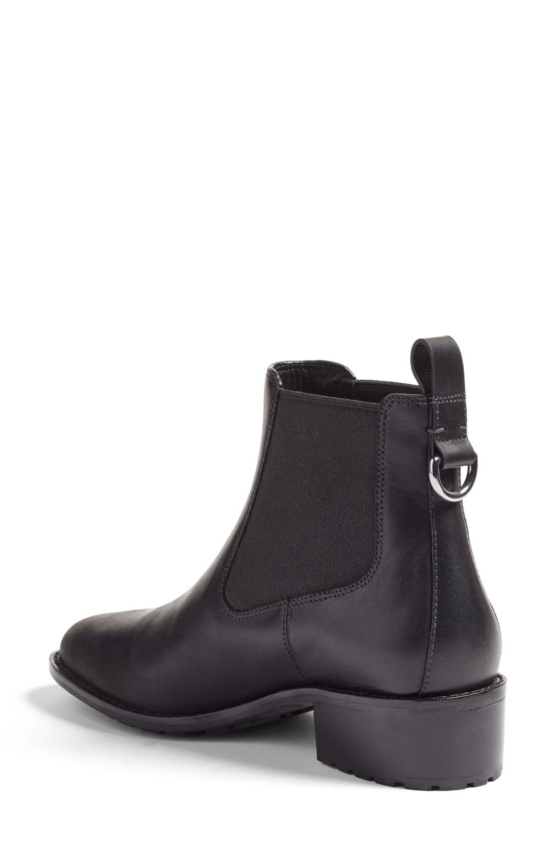 COLE HAAN, Newburg Waterproof Chelsea Boot, Alternate thumbnail 2, color, BLACK LEATHER