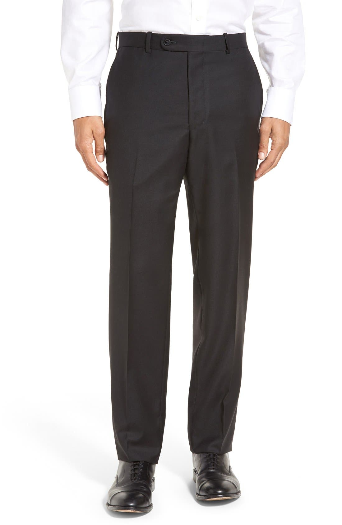 PETER MILLAR, Flynn Classic Fit Solid Wool Suit, Alternate thumbnail 7, color, BLACK
