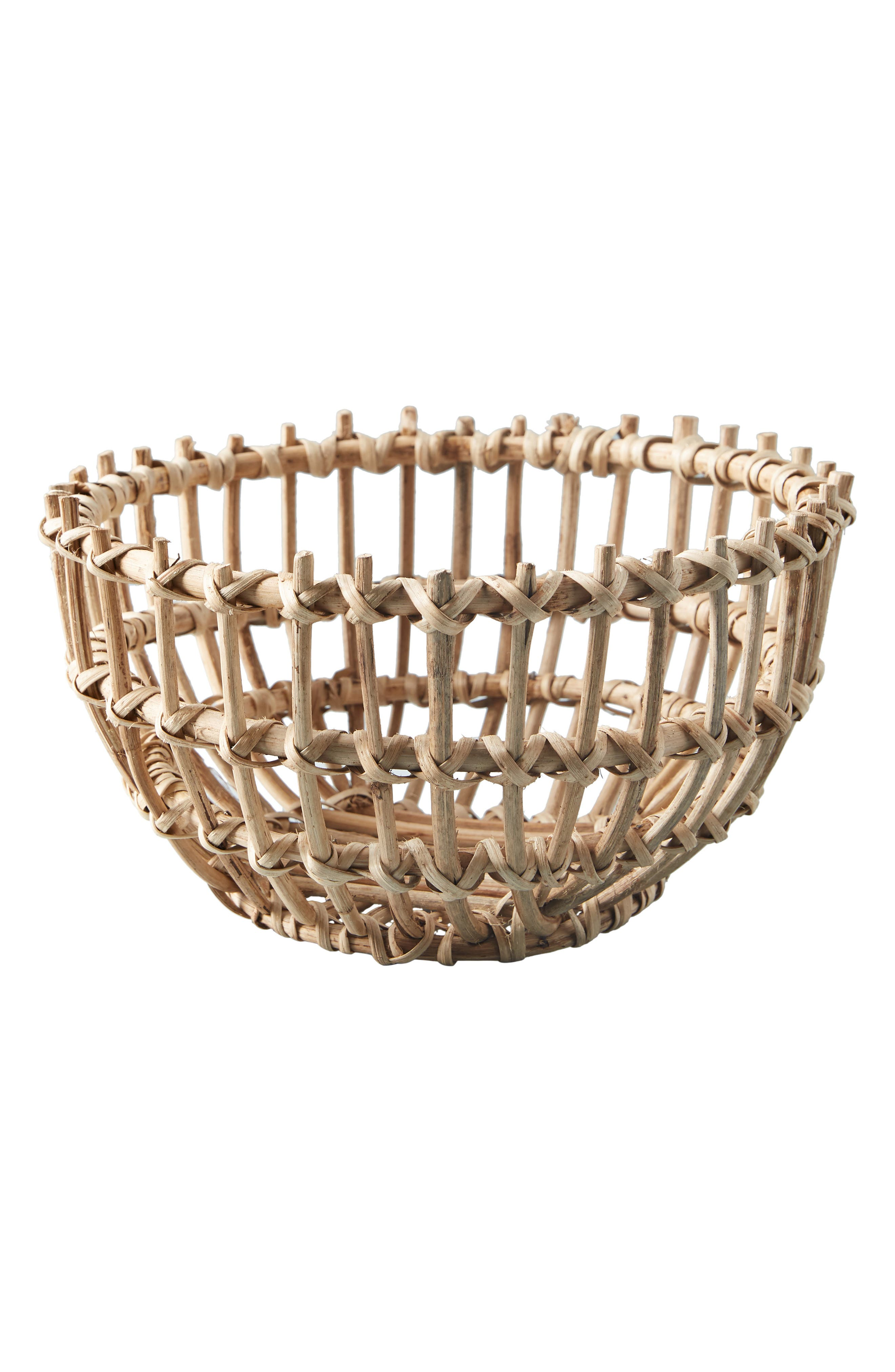 ANTHROPOLOGIE, Anthropology Woven Wooden Basket, Alternate thumbnail 4, color, BROWN