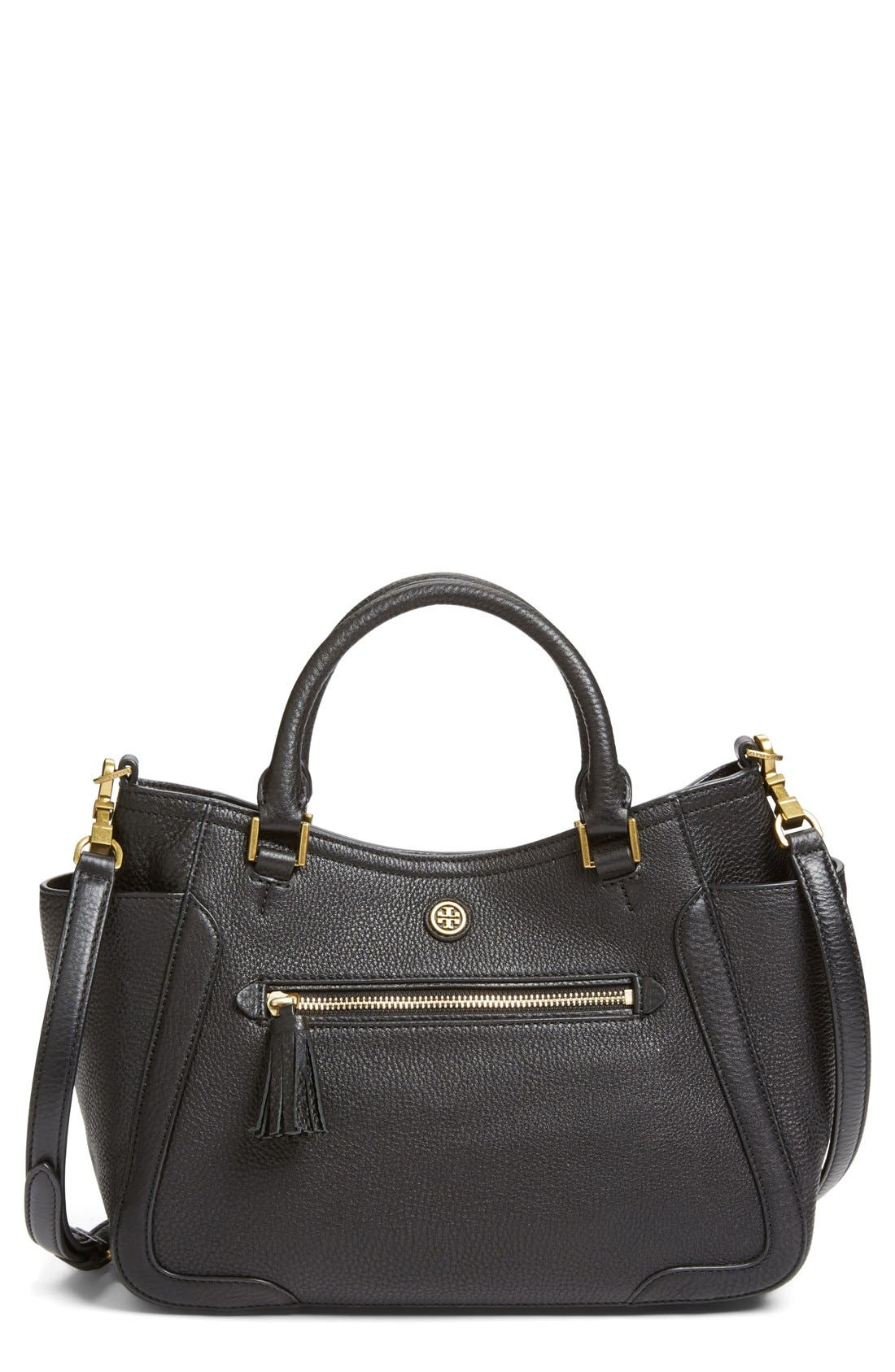 TORY BURCH 'Small Frances' Leather Satchel, Main, color, 001