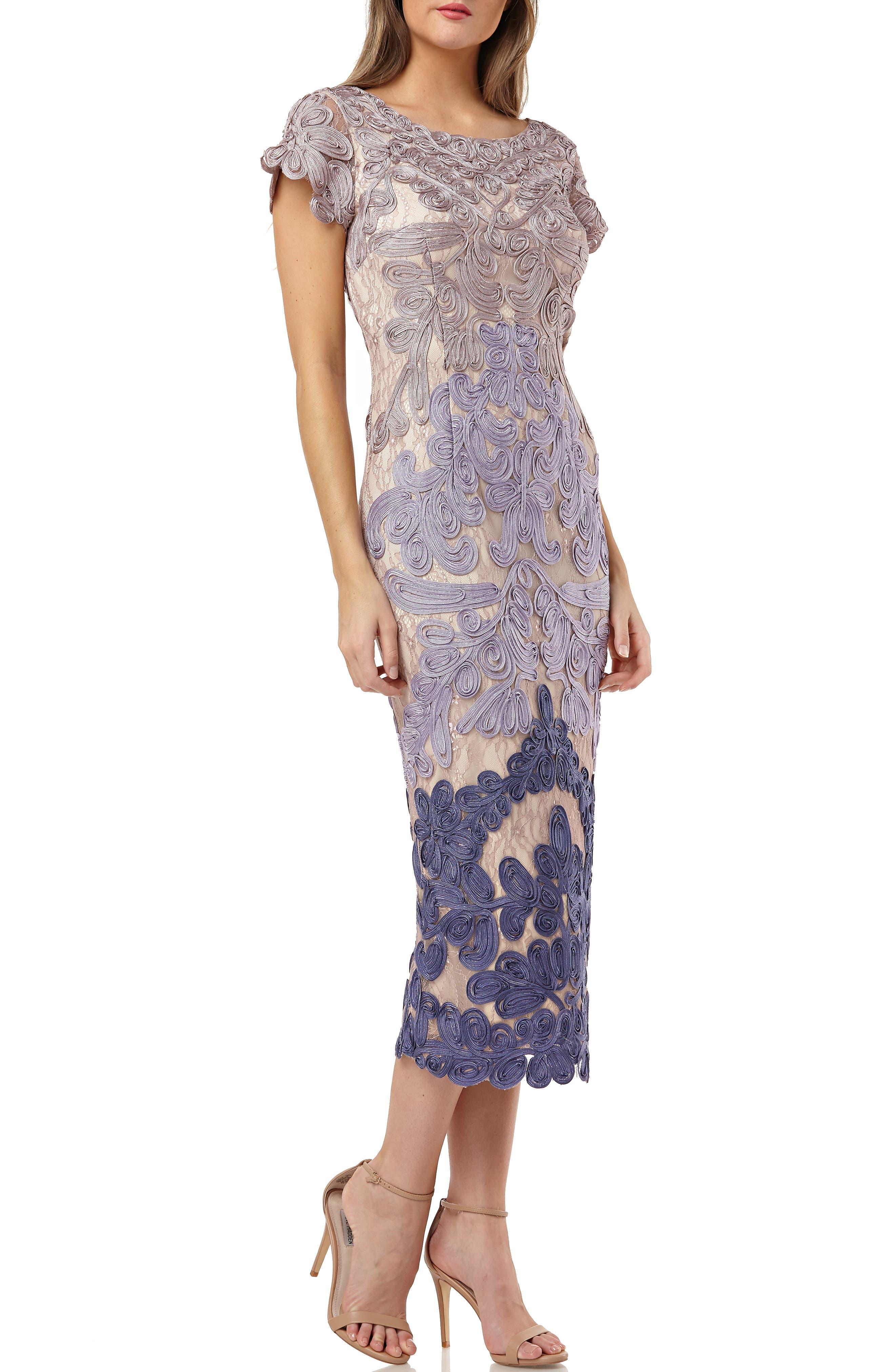 JS COLLECTIONS, Soutache Lace Midi Dress, Main thumbnail 1, color, TAUPE/ PLUM
