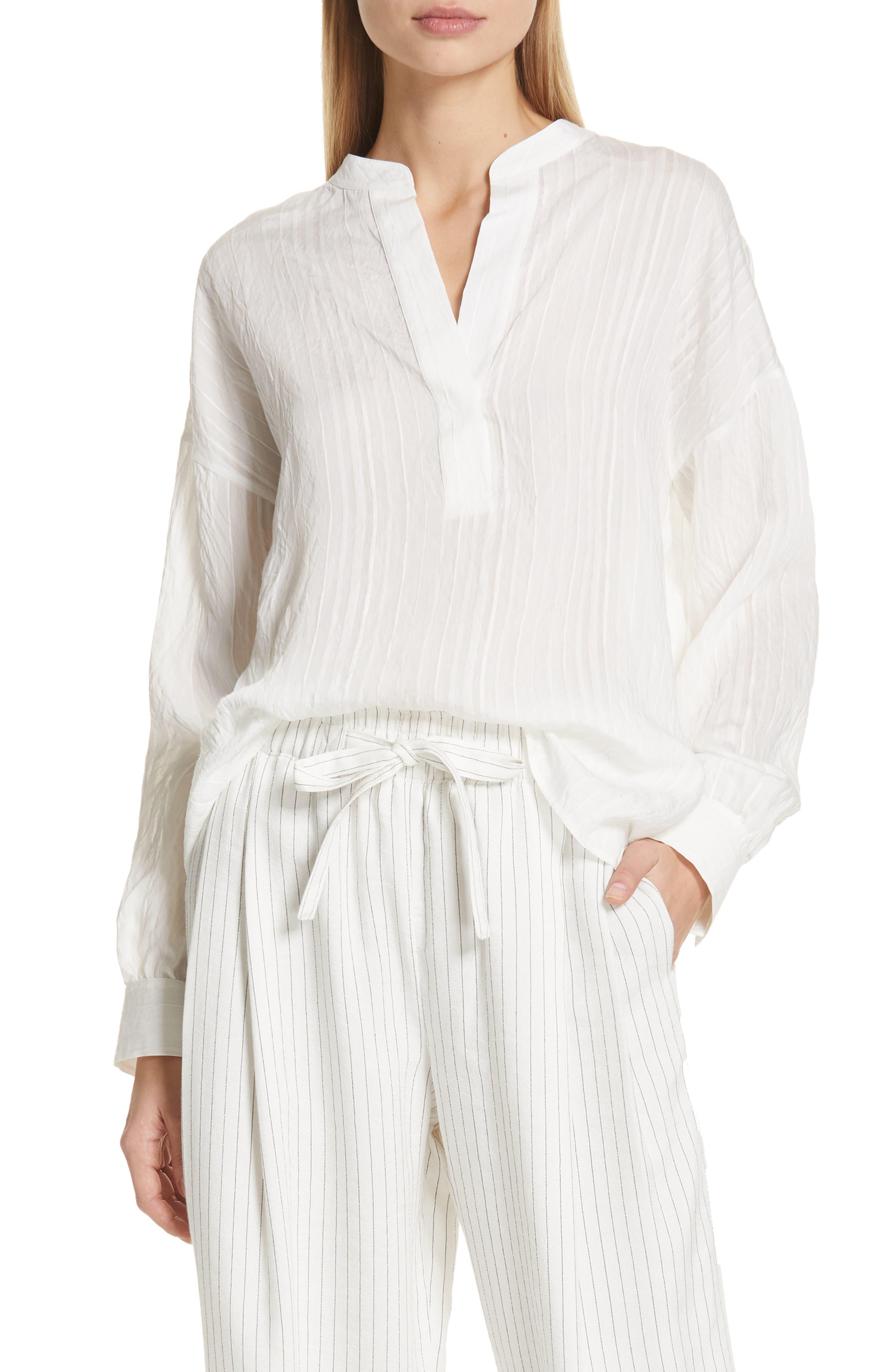 VINCE, Stripe Drop Sleeve Shirt, Main thumbnail 1, color, OPTIC WHITE