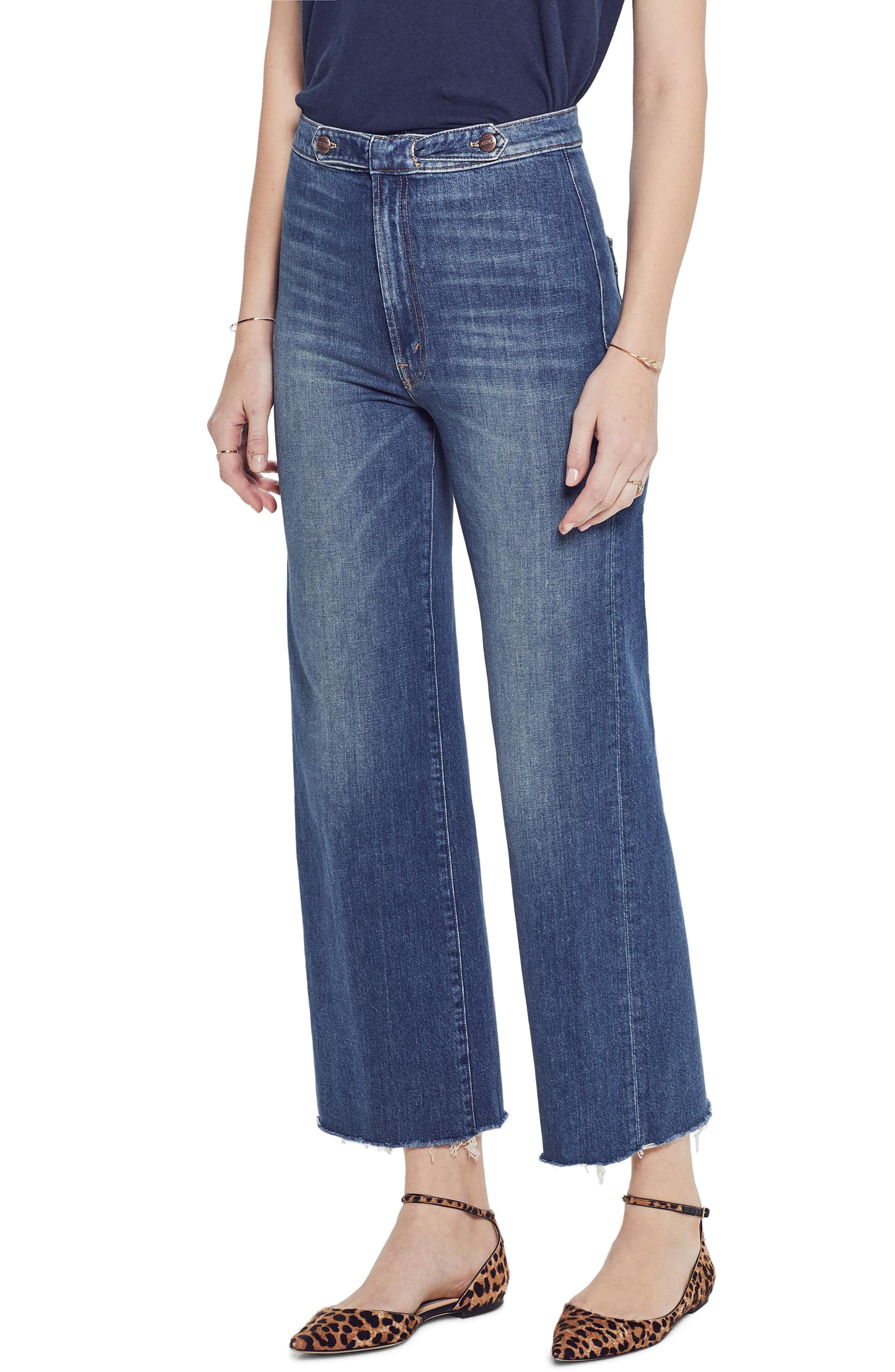 MOTHER, The Loop De Loop Frayed Wide Leg Jeans, Main thumbnail 1, color, JUST ONE SIP