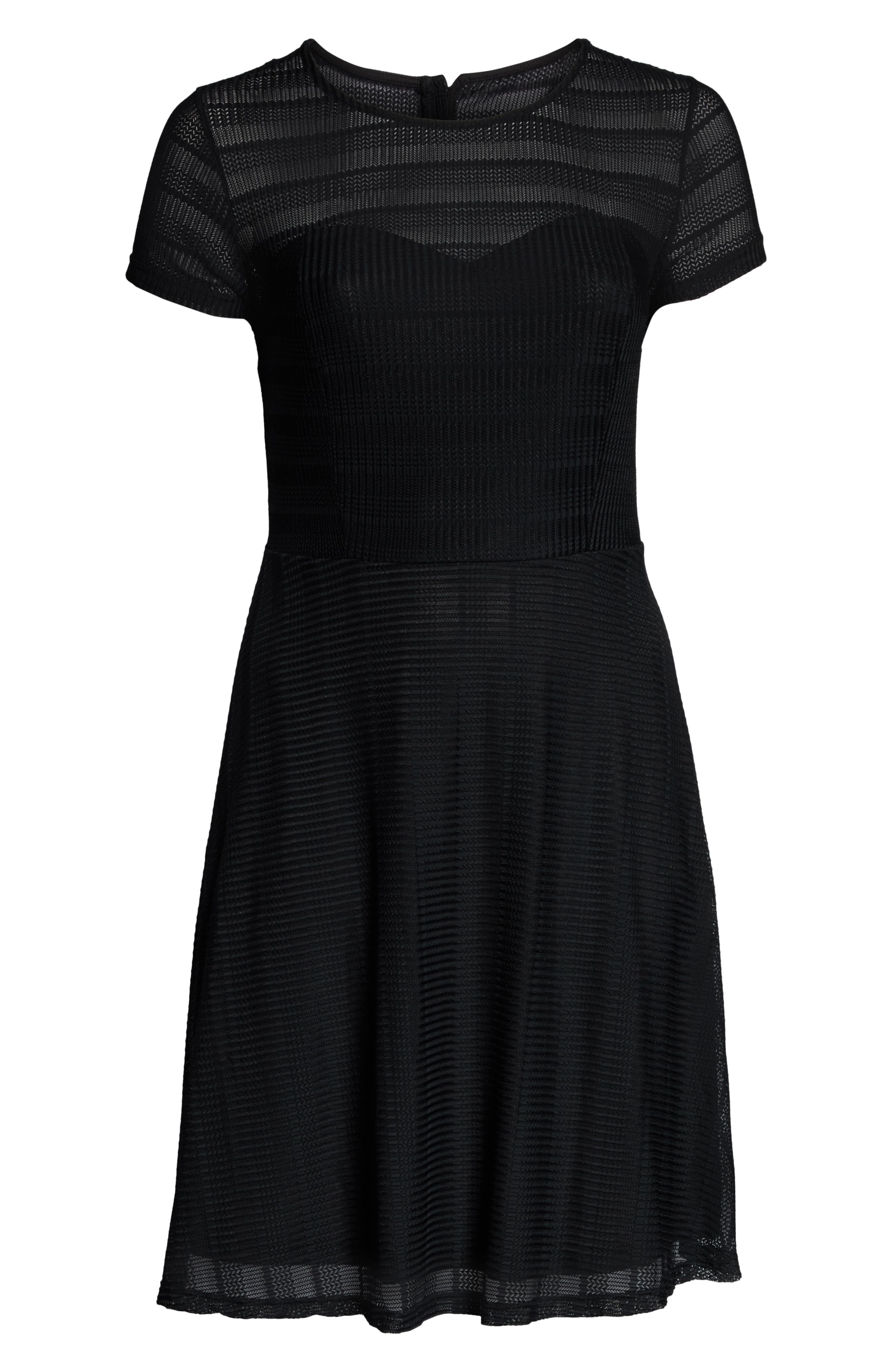 CITY CHIC, Textured Heart Dress, Alternate thumbnail 3, color, BLACK
