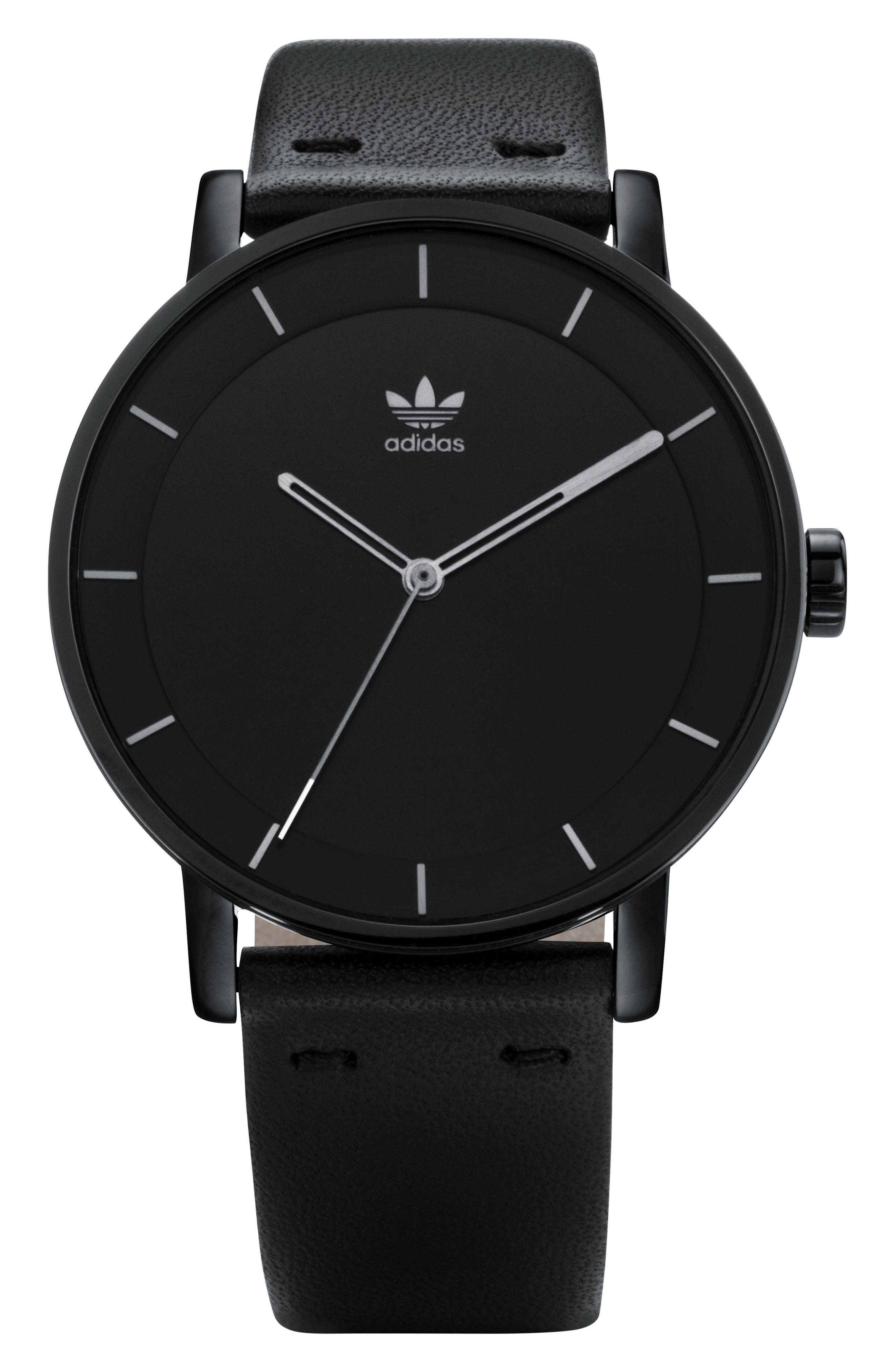 ADIDAS, District Leather Strap Watch, 40mm, Main thumbnail 1, color, SILVER/ BLACK