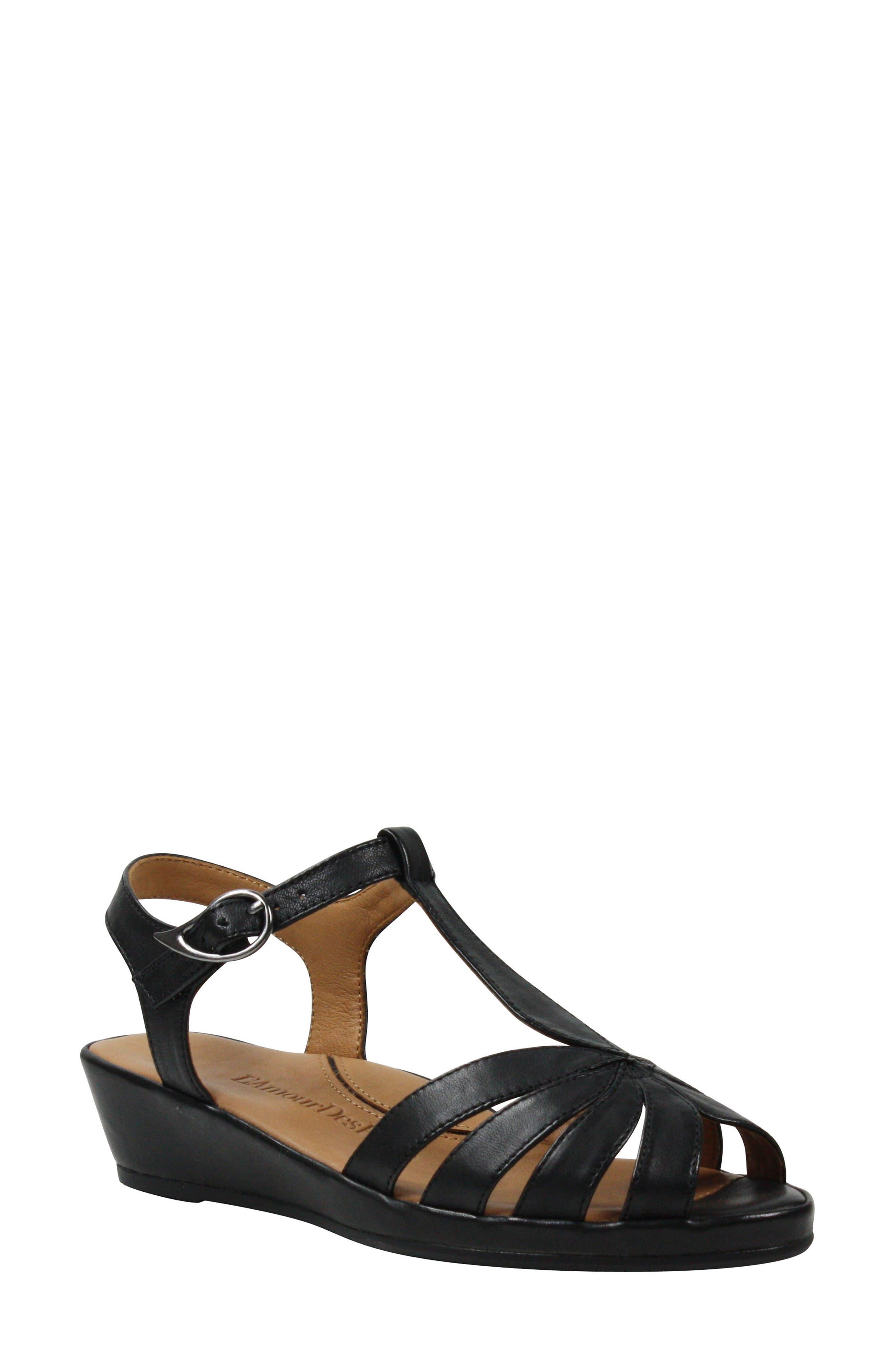 L'AMOUR DES PIEDS, Boquin Sandal, Main thumbnail 1, color, BLACK LEATHER
