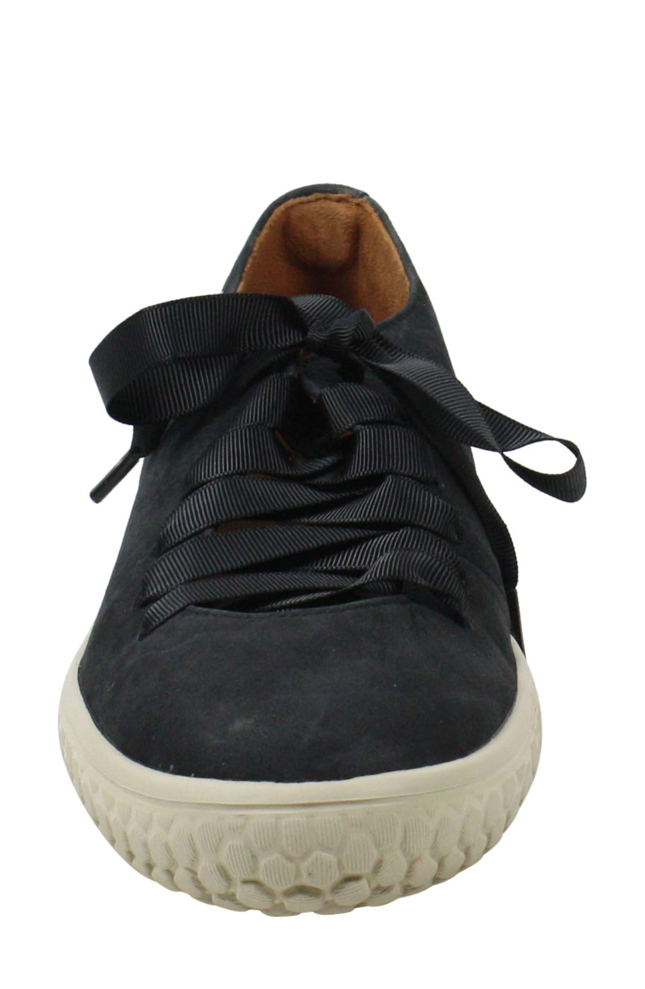 L'AMOUR DES PIEDS, Zaheera Sneaker, Alternate thumbnail 4, color, BLACK NUBUCK LEATHER