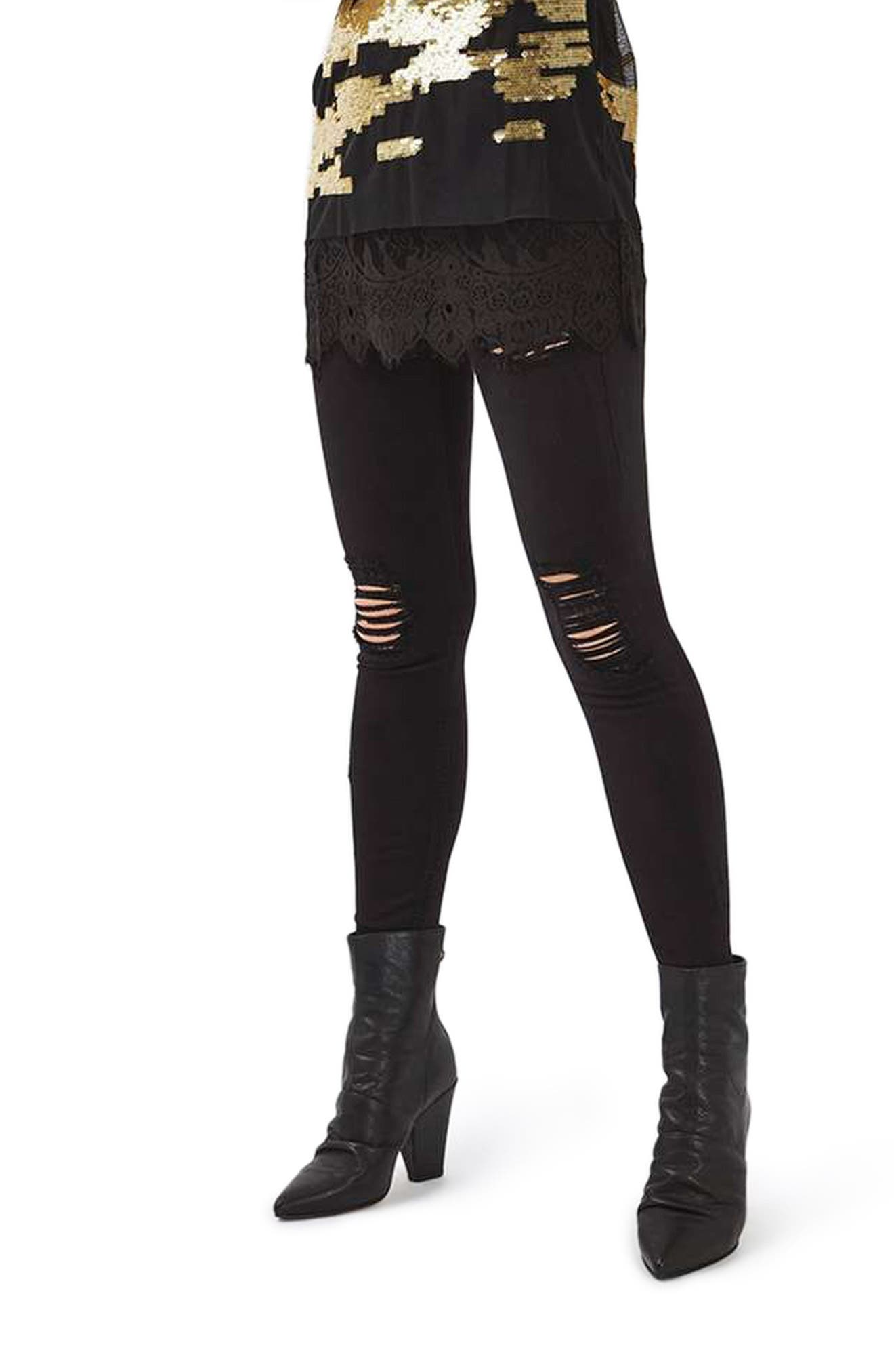 TOPSHOP, Ripped High Waist Ankle Skinny Jeans, Main thumbnail 1, color, 001