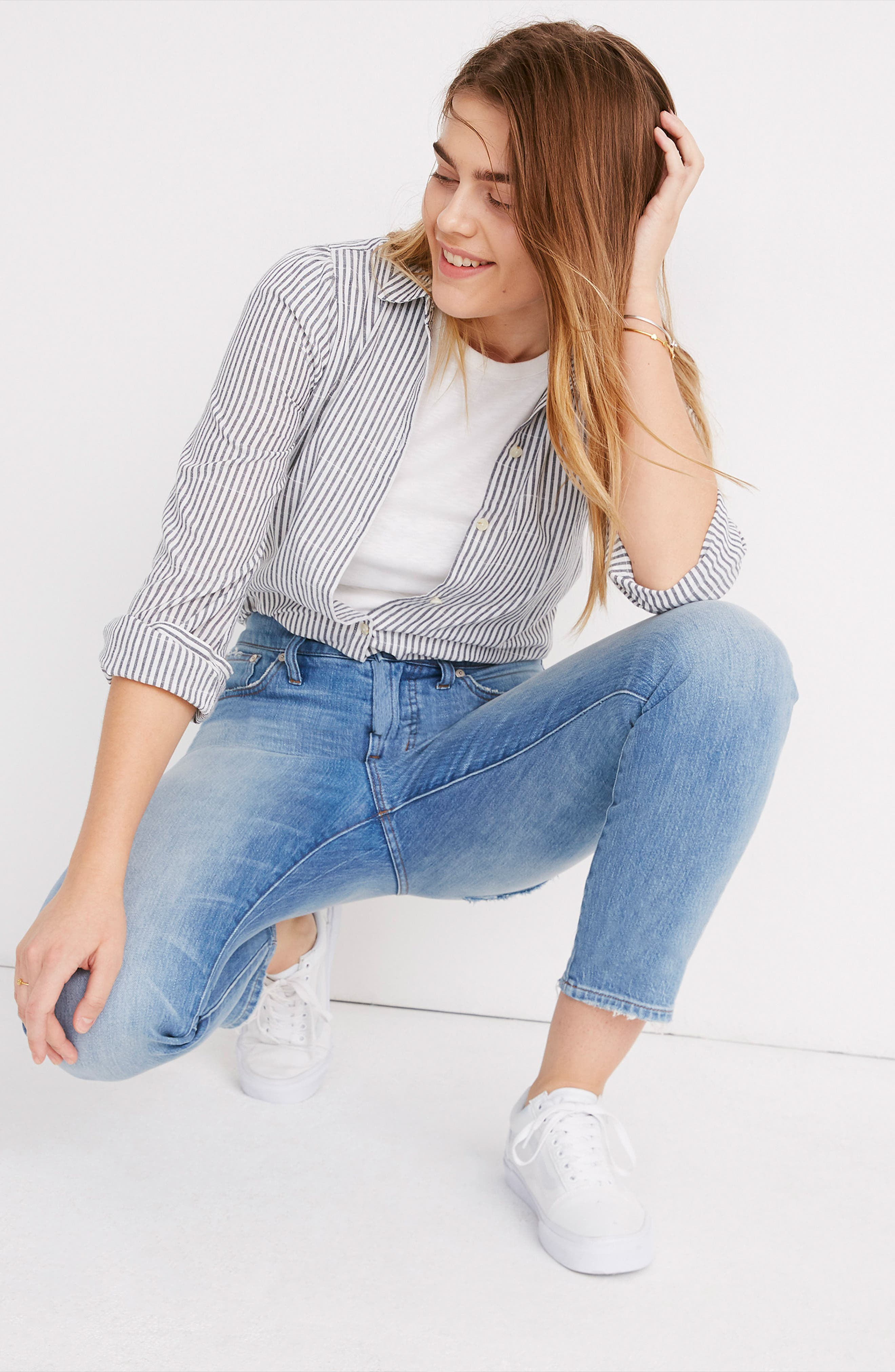MADEWELL, The Perfect Vintage Heart Patch High Waist Jeans, Alternate thumbnail 7, color, ATWATER WASH