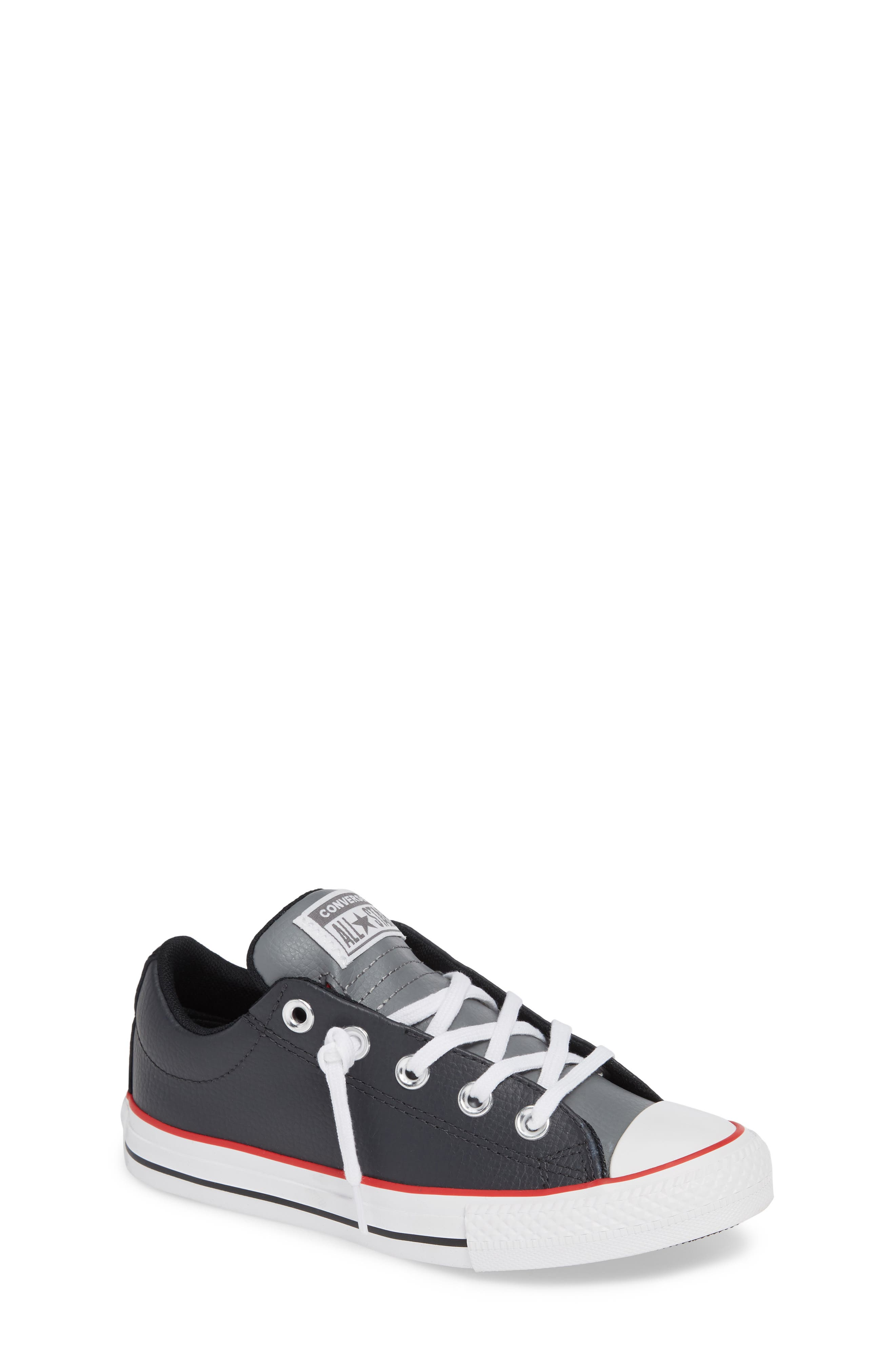 CONVERSE, Chuck Taylor<sup>®</sup> All Star<sup>®</sup> Collegiate Street Leather Slip-On Sneaker, Main thumbnail 1, color, ALMOST BLACK