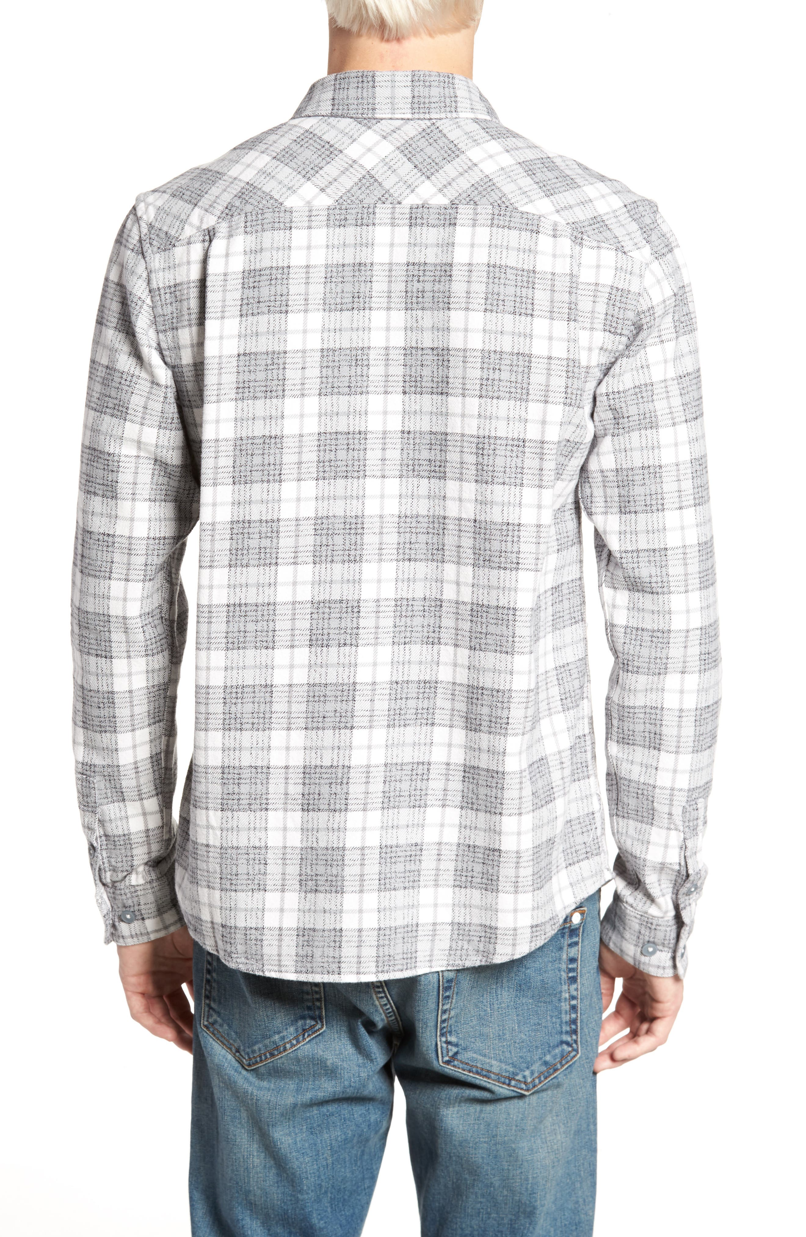 RVCA, 'That'll Work' Trim Fit Plaid Flannel Shirt, Alternate thumbnail 2, color, ANTIQUE WHITE