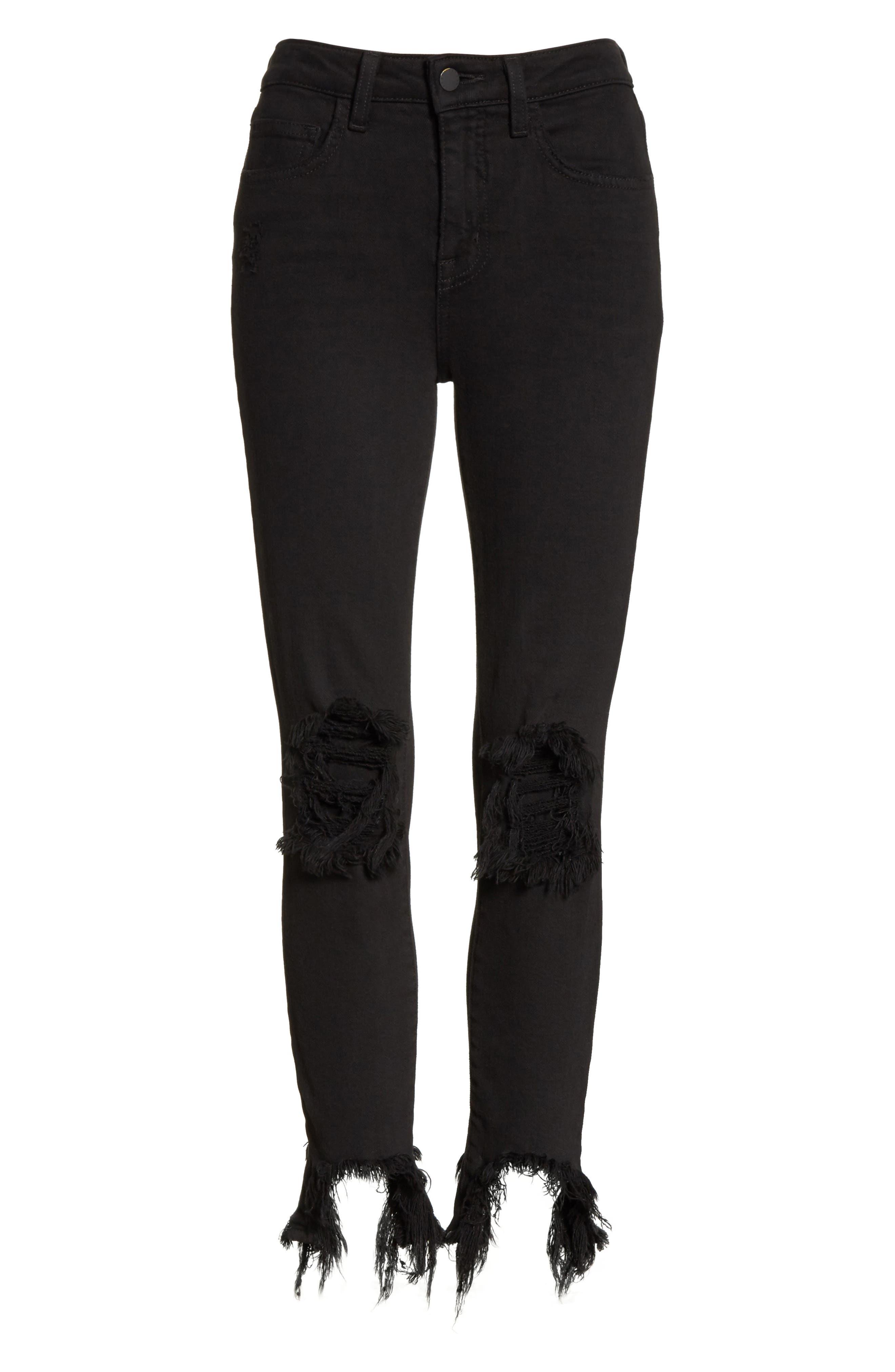 L'AGENCE, Highline High Waist Fray Hem Skinny Jeans, Alternate thumbnail 7, color, SATURATED BLACK DESTRUCT