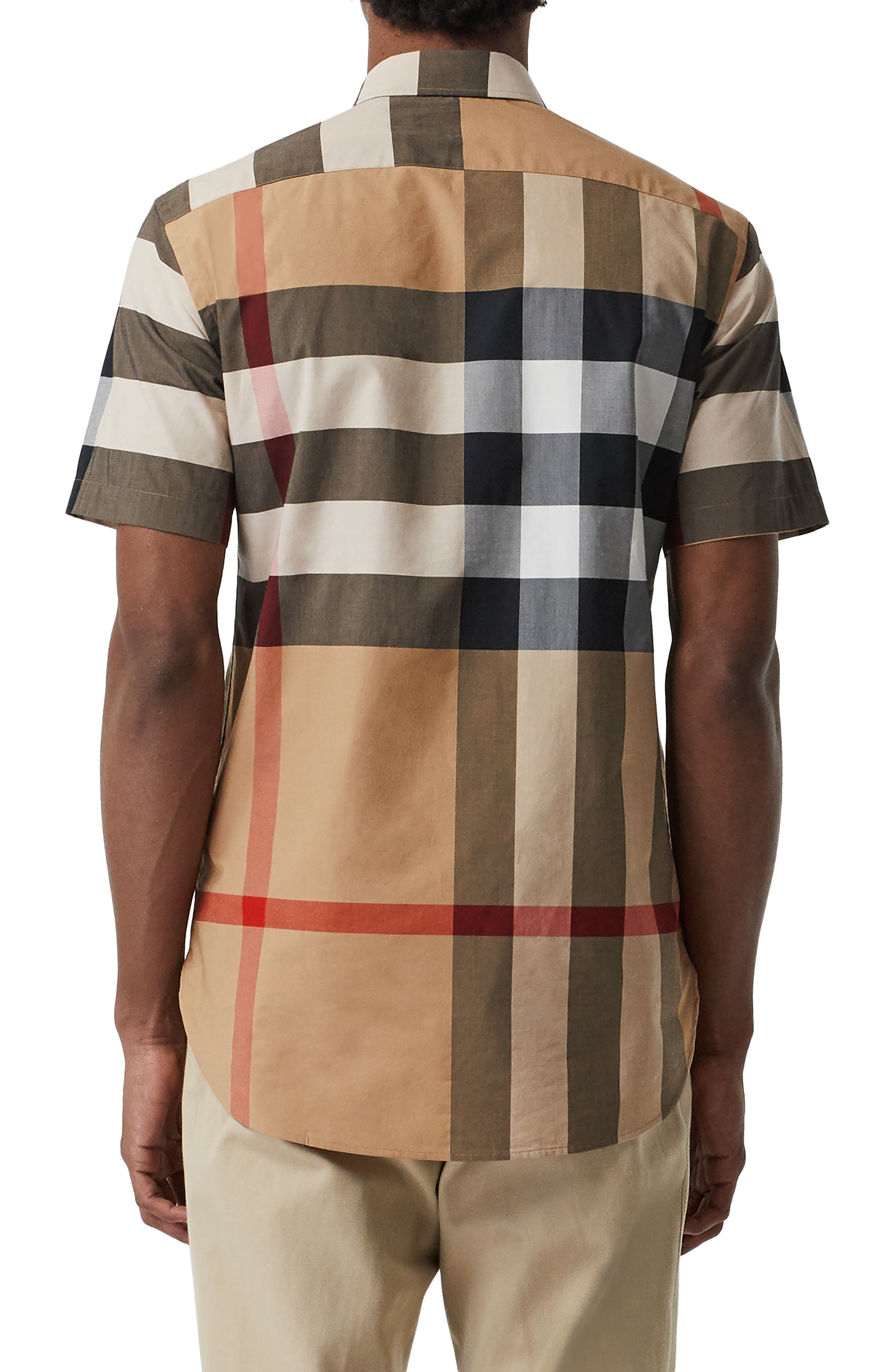 BURBERRY, Windsor Plaid Shirt, Alternate thumbnail 2, color, CAMEL