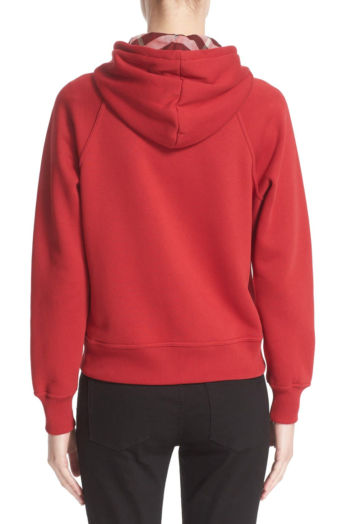 BURBERRY, Check Print Hoodie, Alternate thumbnail 5, color, PARADE RED