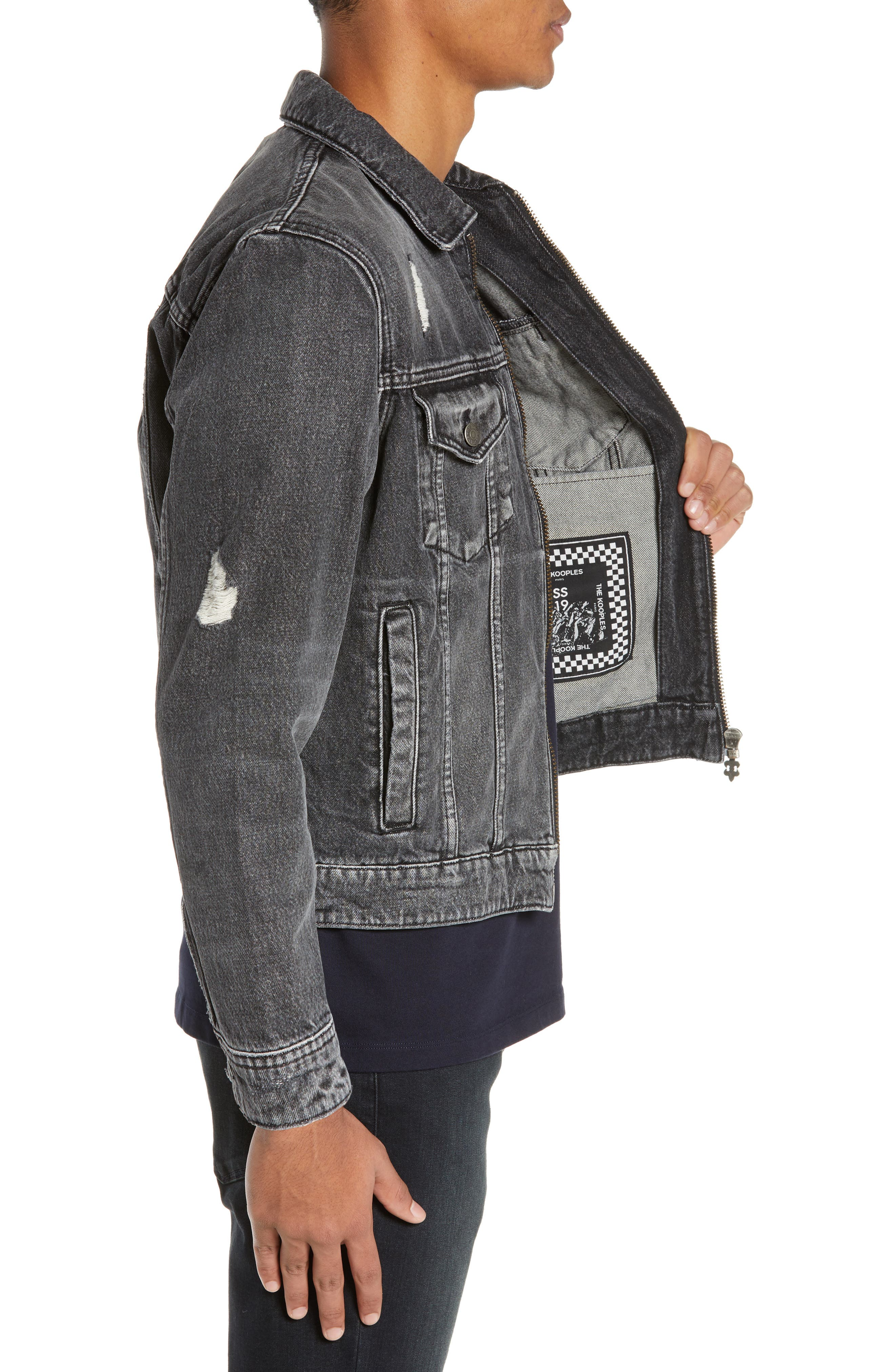 THE KOOPLES, Slim Fit Denim Jacket, Alternate thumbnail 4, color, BLACK DENIM EFFECT
