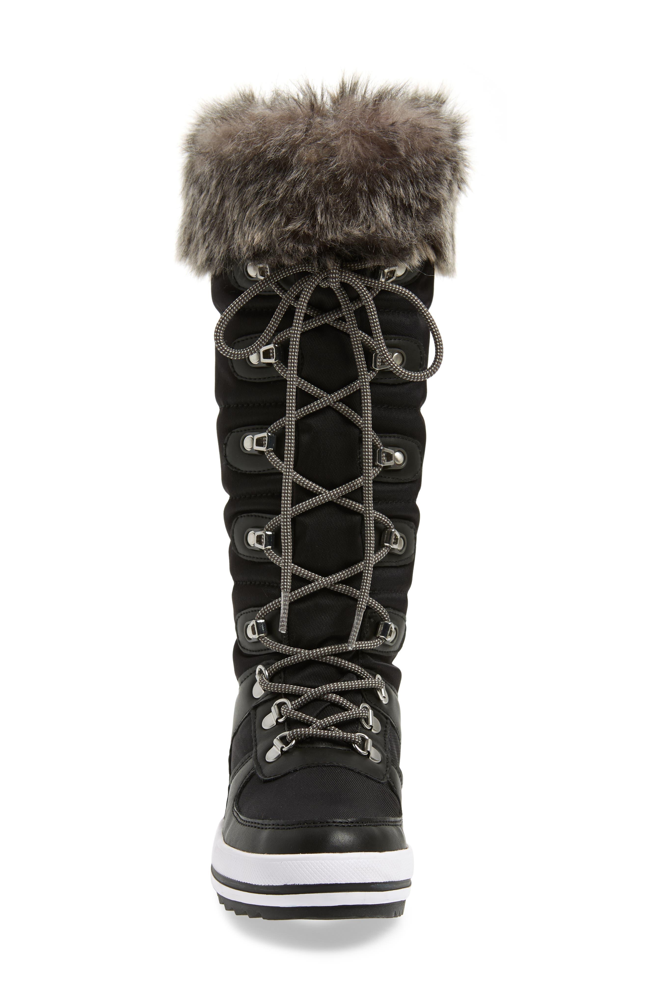 COUGAR, Vesta Faux Fur Collar Knee High Snow Boot, Alternate thumbnail 4, color, BLACK FABRIC