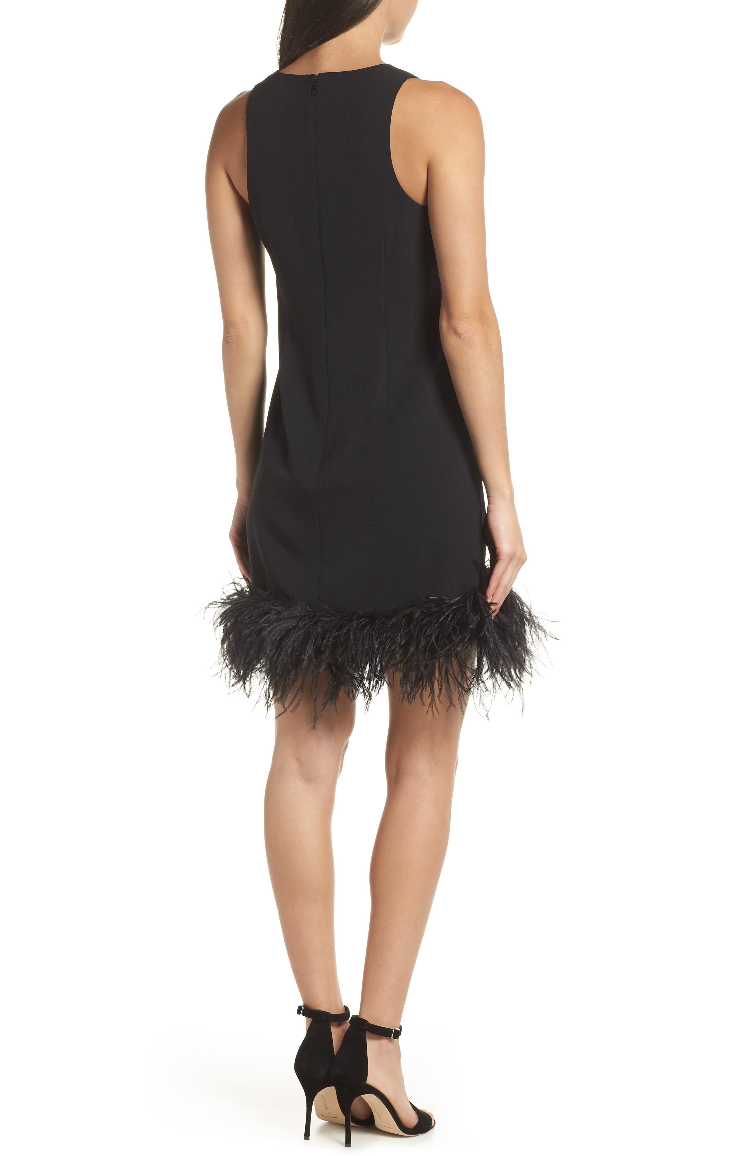 CHELSEA28, Feather Hem Sheath Dress, Alternate thumbnail 2, color, BLACK