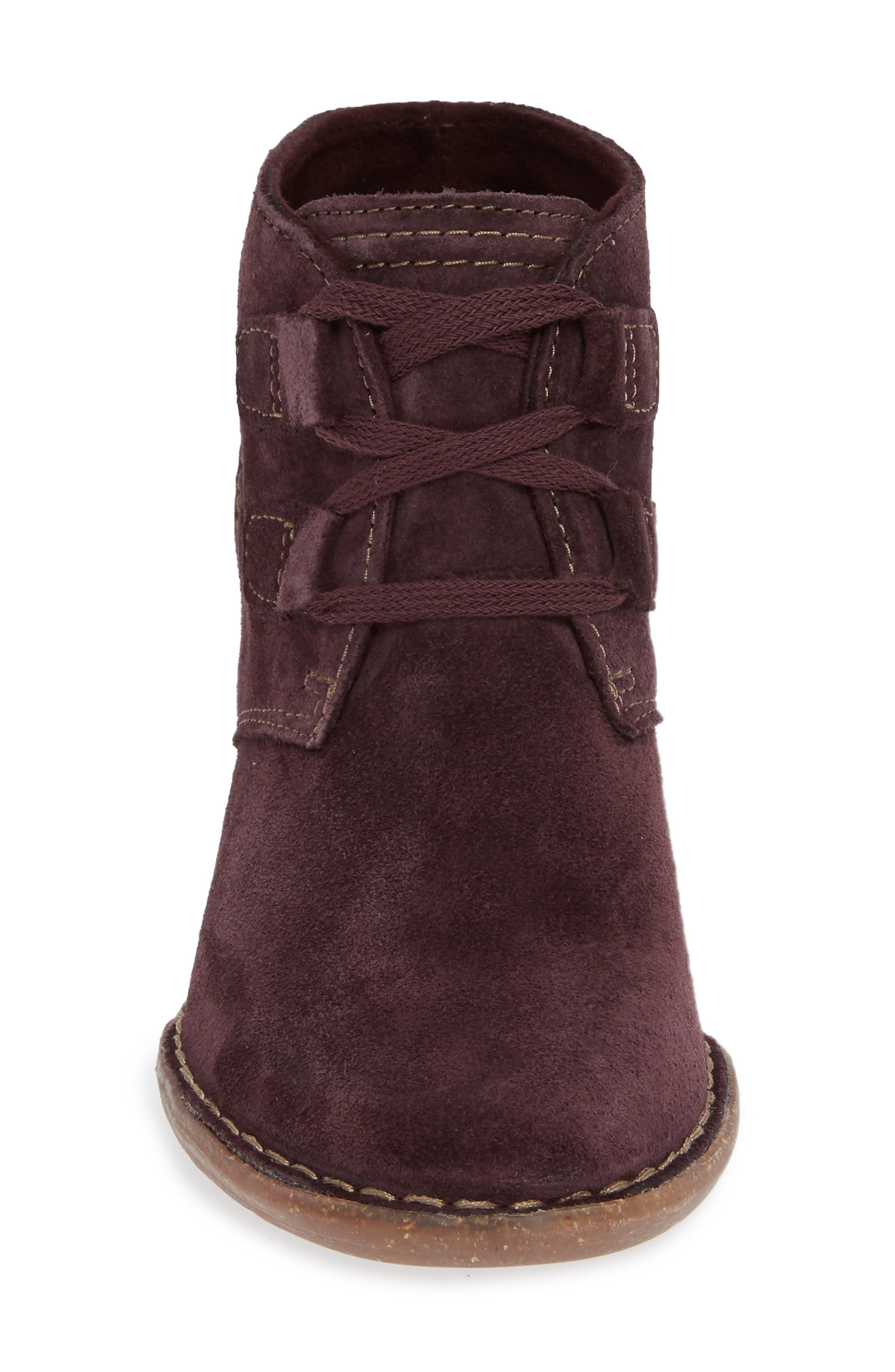 CLARKS<SUP>®</SUP>, Carleta Lyon Ankle Boot, Alternate thumbnail 4, color, AUBERGINE SUEDE