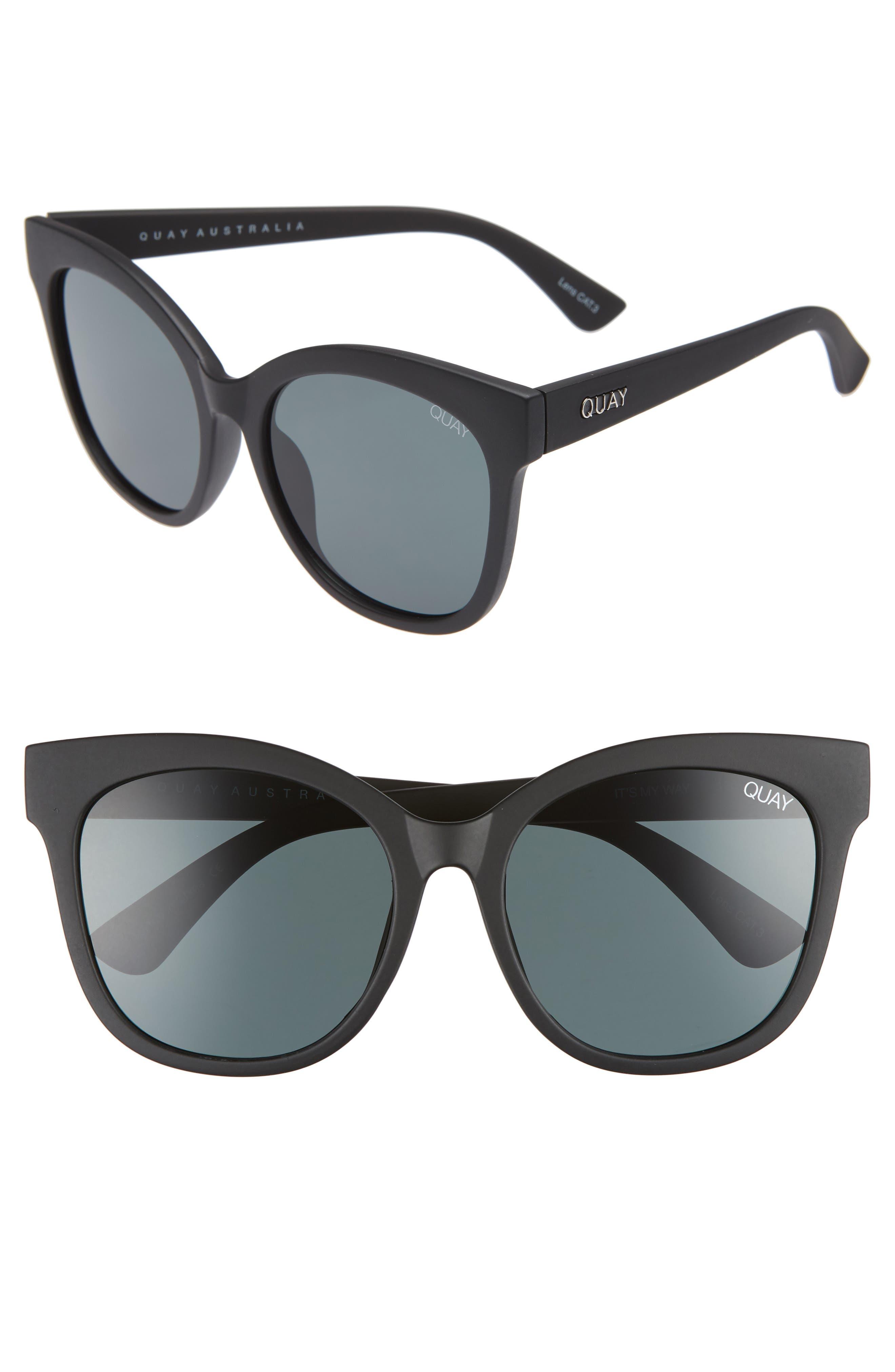 QUAY AUSTRALIA, It's My Way 55mm Sunglasses, Main thumbnail 1, color, BLACK/ SMOKE
