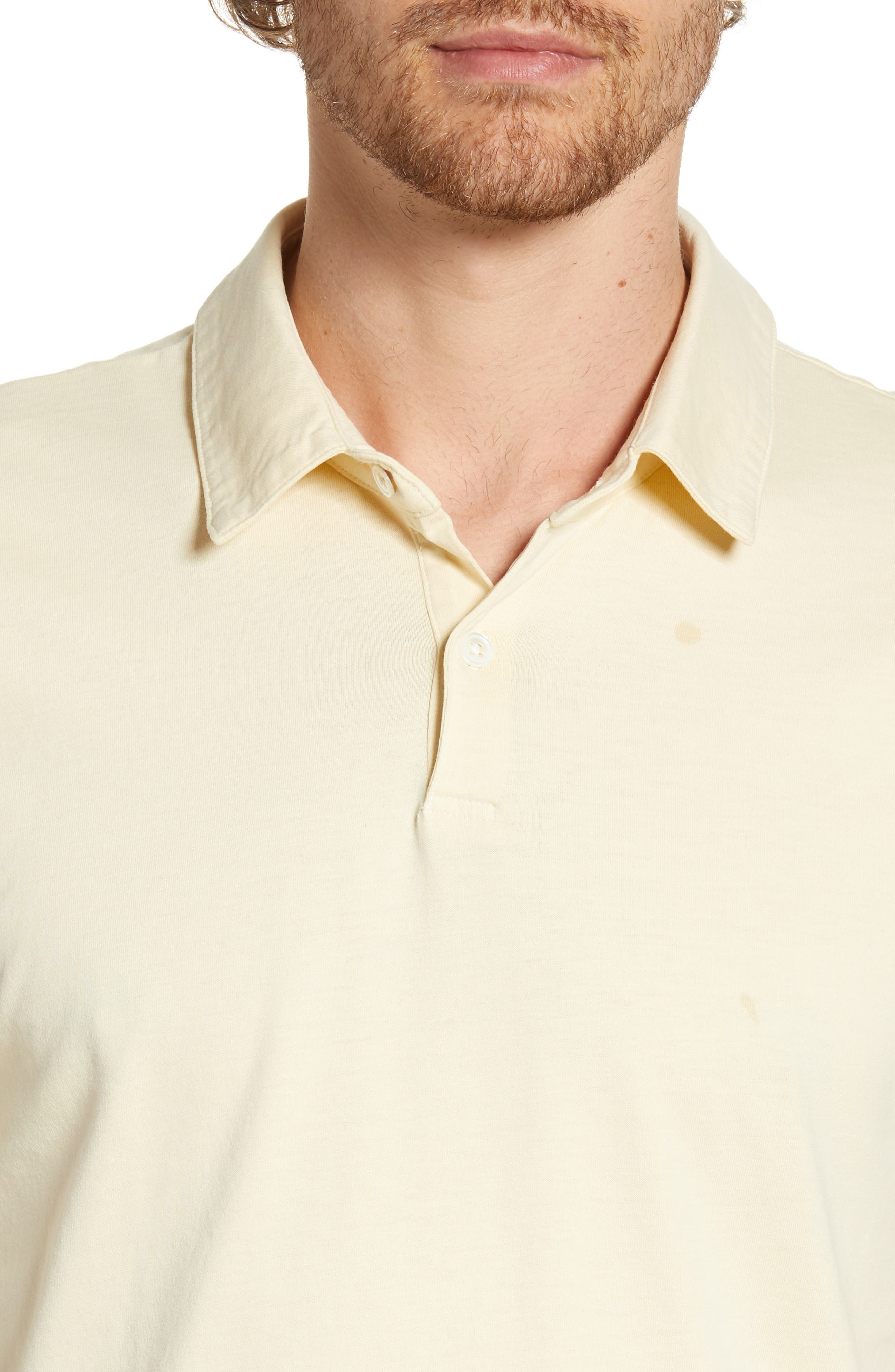 JAMES PERSE, Slim Fit Sueded Jersey Polo, Alternate thumbnail 4, color, GESSO