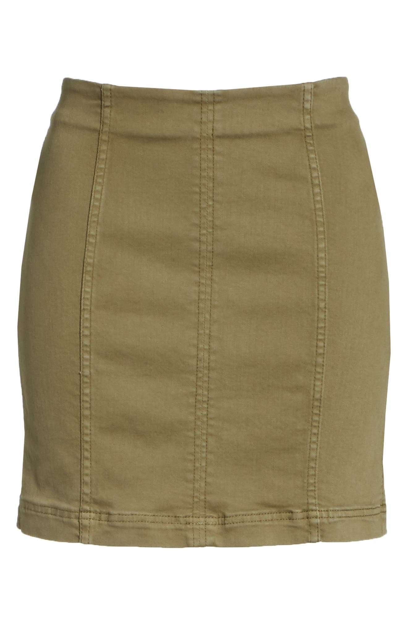 FREE PEOPLE, We the Free by Free People Modern Miniskirt, Alternate thumbnail 6, color, ARMY