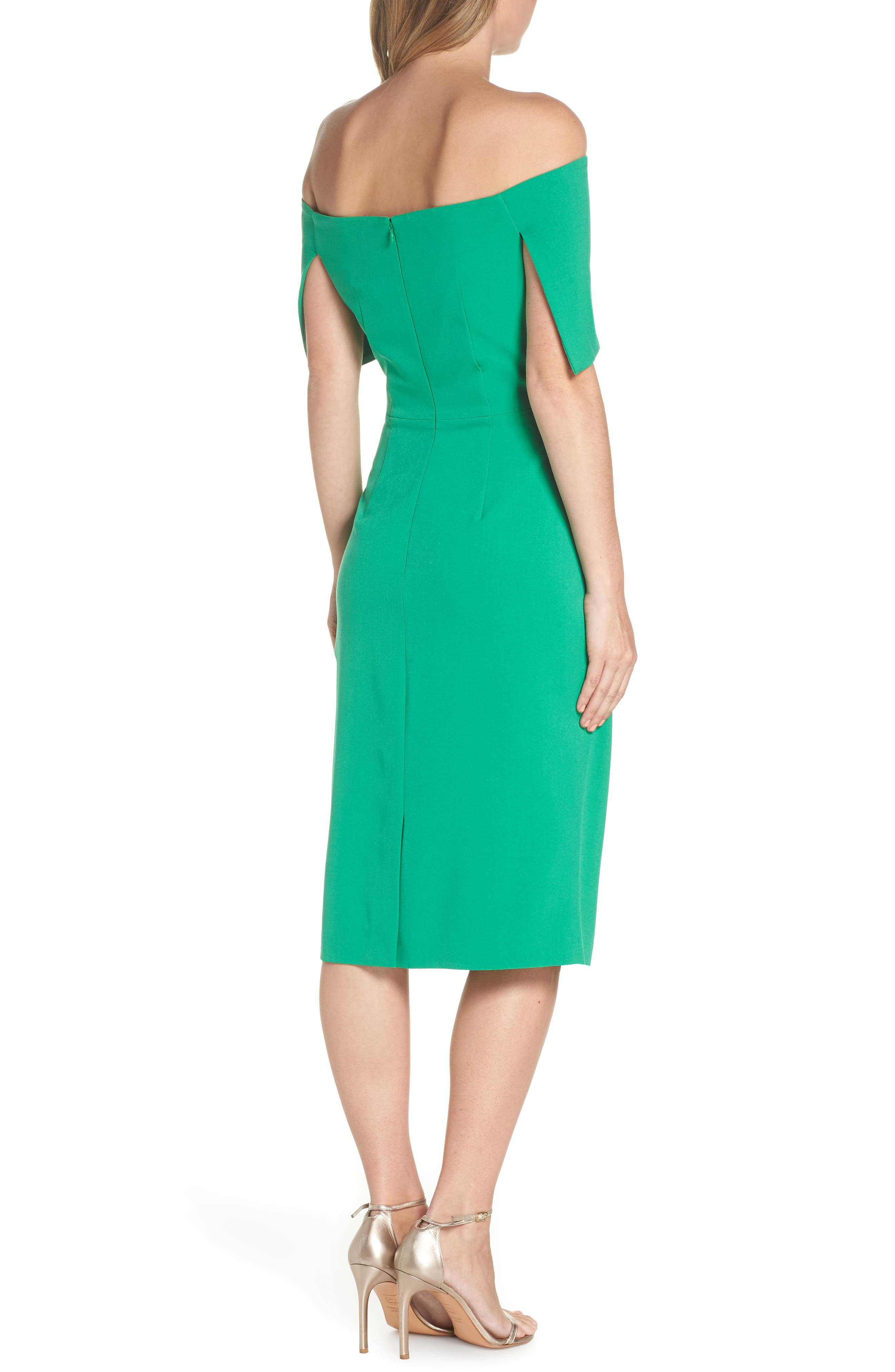 VINCE CAMUTO, Popover Midi Dress, Alternate thumbnail 2, color, GREEN