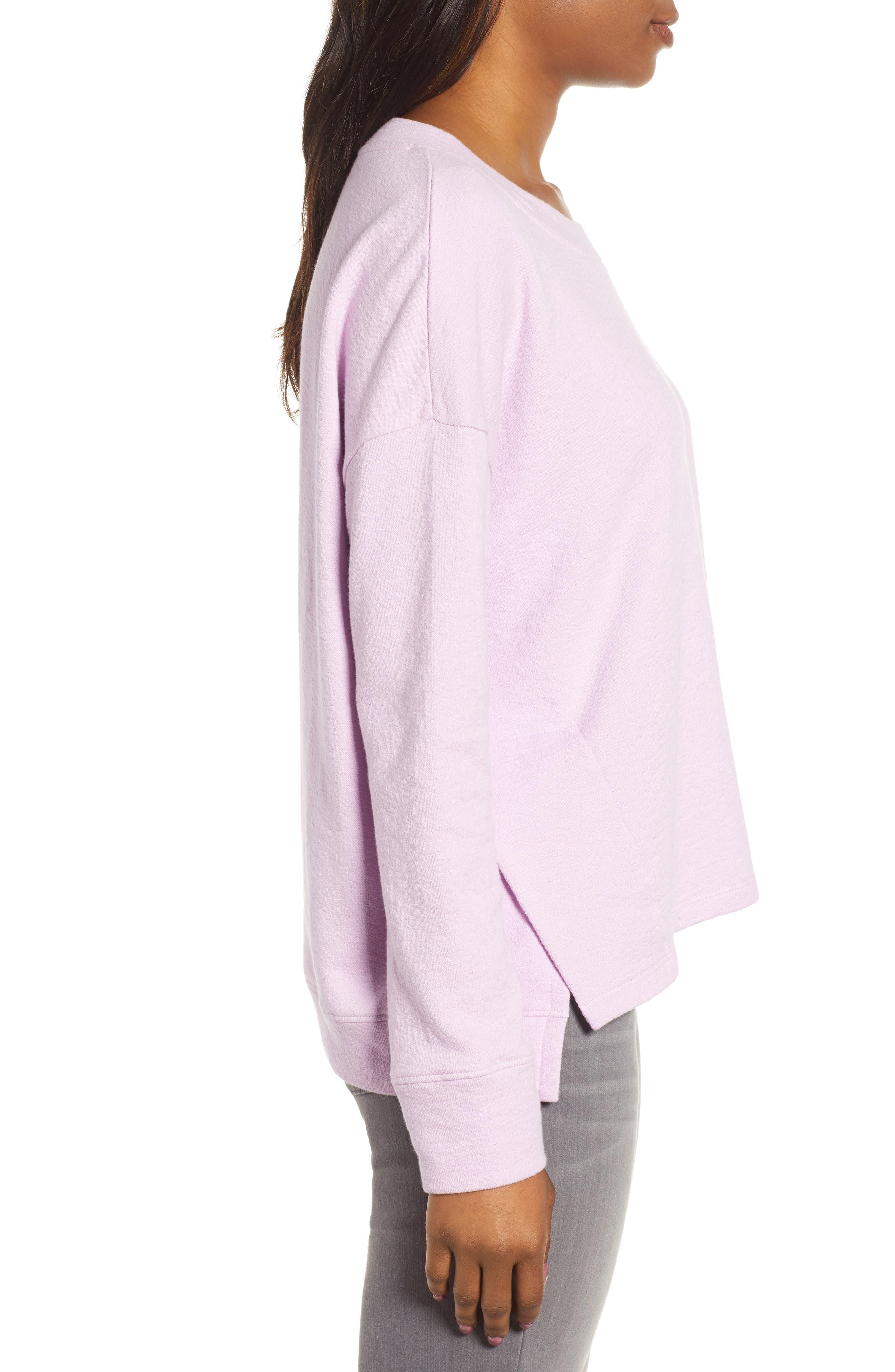 CASLON<SUP>®</SUP>, Side Slit Relaxed Sweatshirt, Alternate thumbnail 3, color, PINK BOUQUET