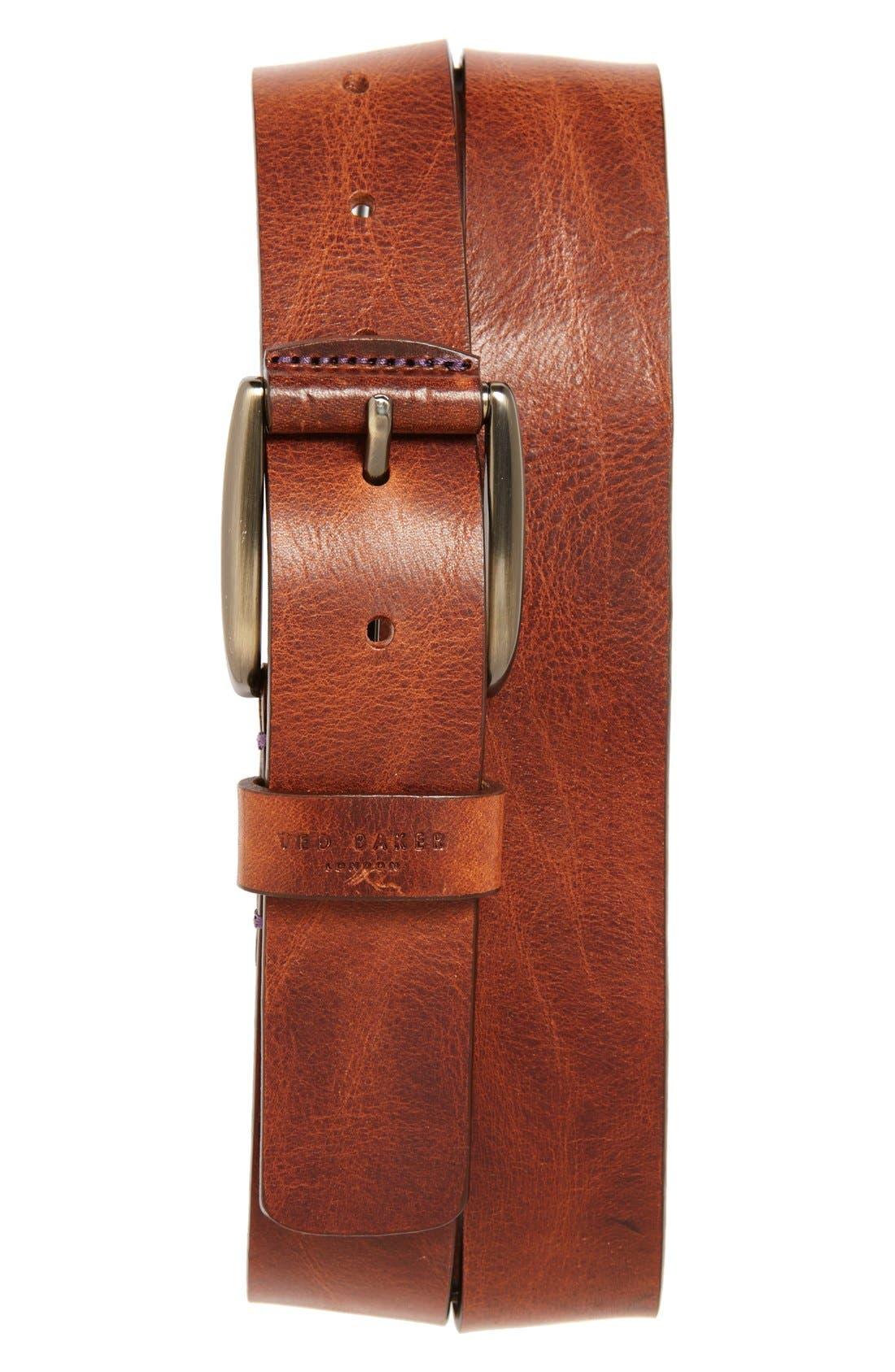 TED BAKER LONDON, 'Jean' Leather Belt, Main thumbnail 1, color, TAN