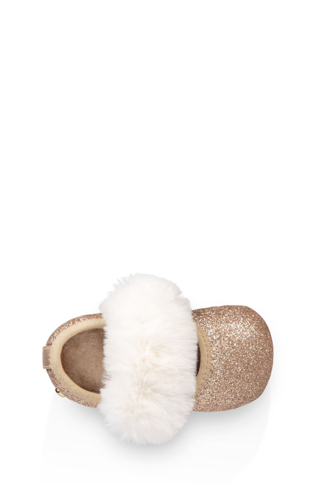 UGG<SUP>®</SUP>, Fluff Glitter Ballet Flat, Alternate thumbnail 4, color, GOLD