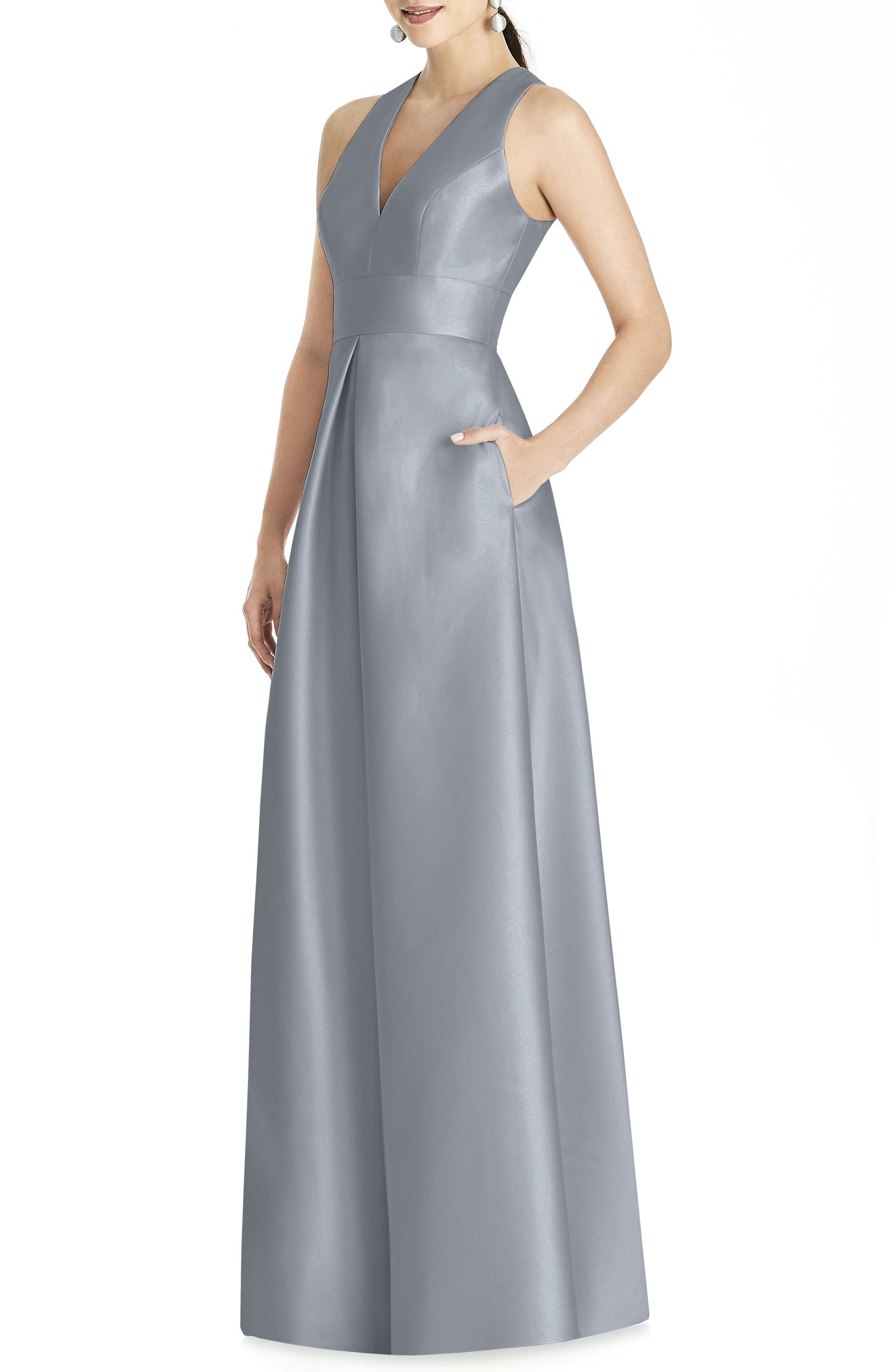 Alfred Sung Sleeveless Sateen Gown, Grey