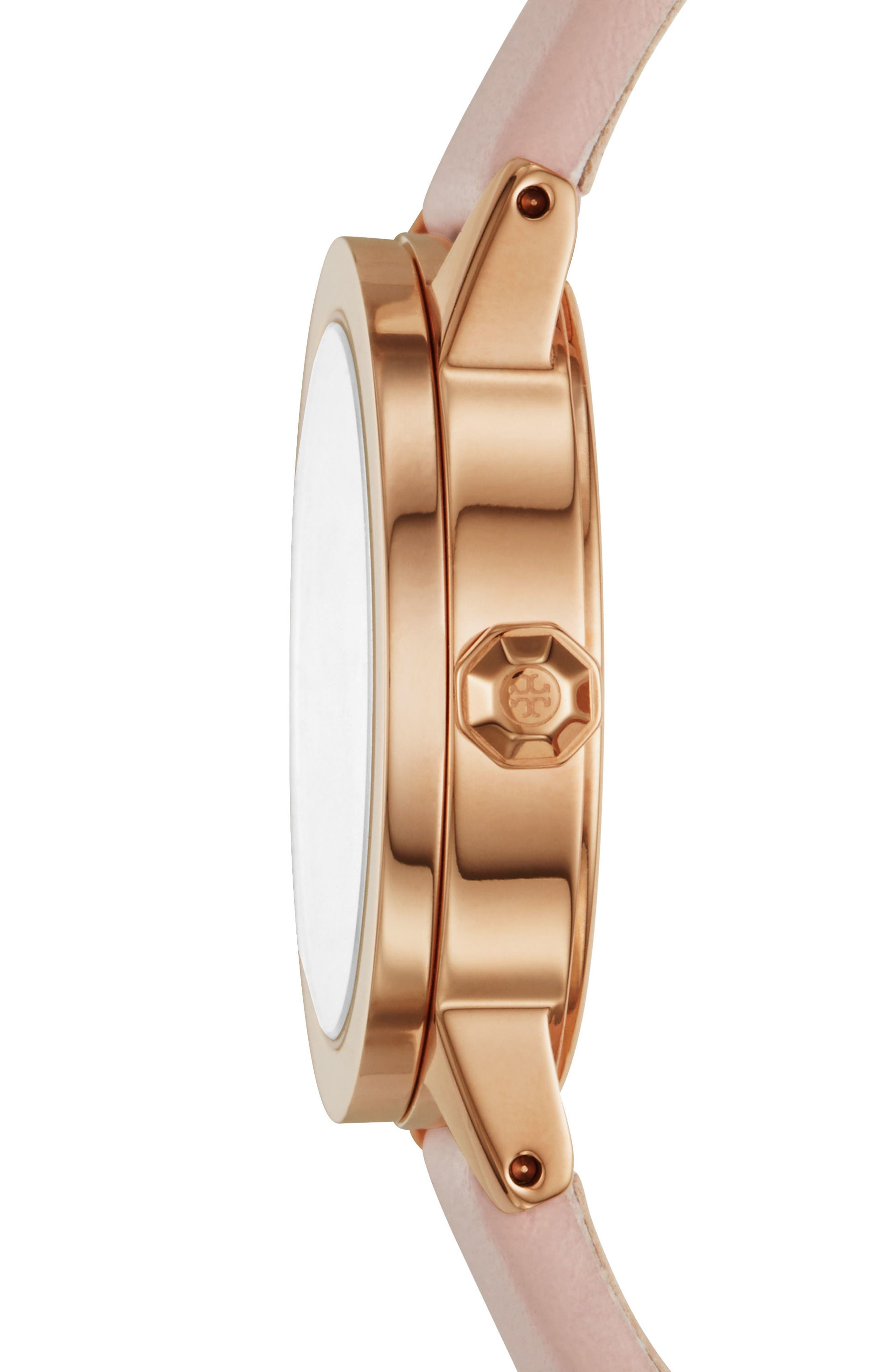 TORY BURCH, Gigi Leather Strap Watch, 28mm, Alternate thumbnail 2, color, PINK/ CREAM/ ROSE GOLD