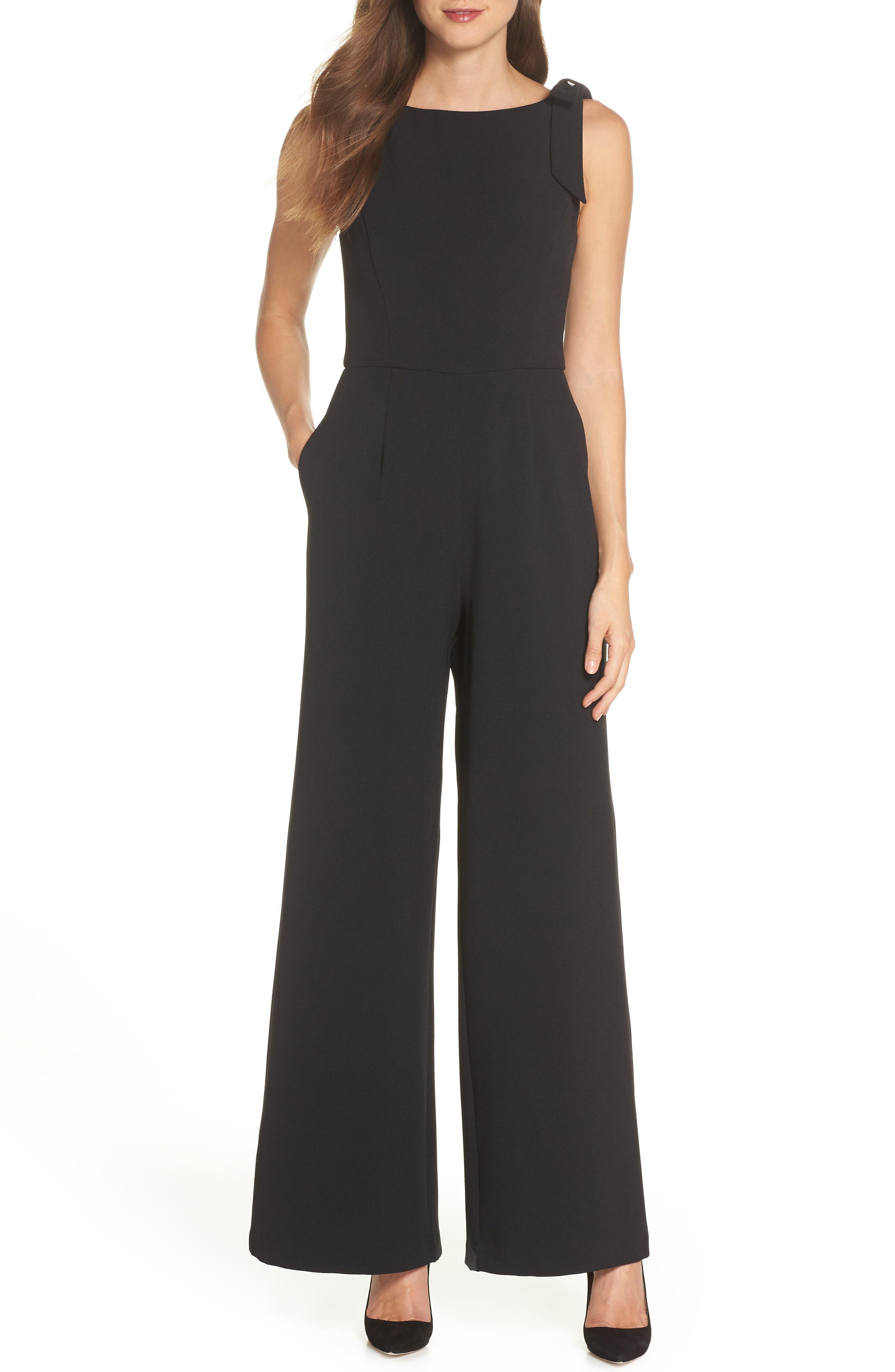 JULIA JORDAN, Shoulder Bow Jumpsuit, Main thumbnail 1, color, BLACK